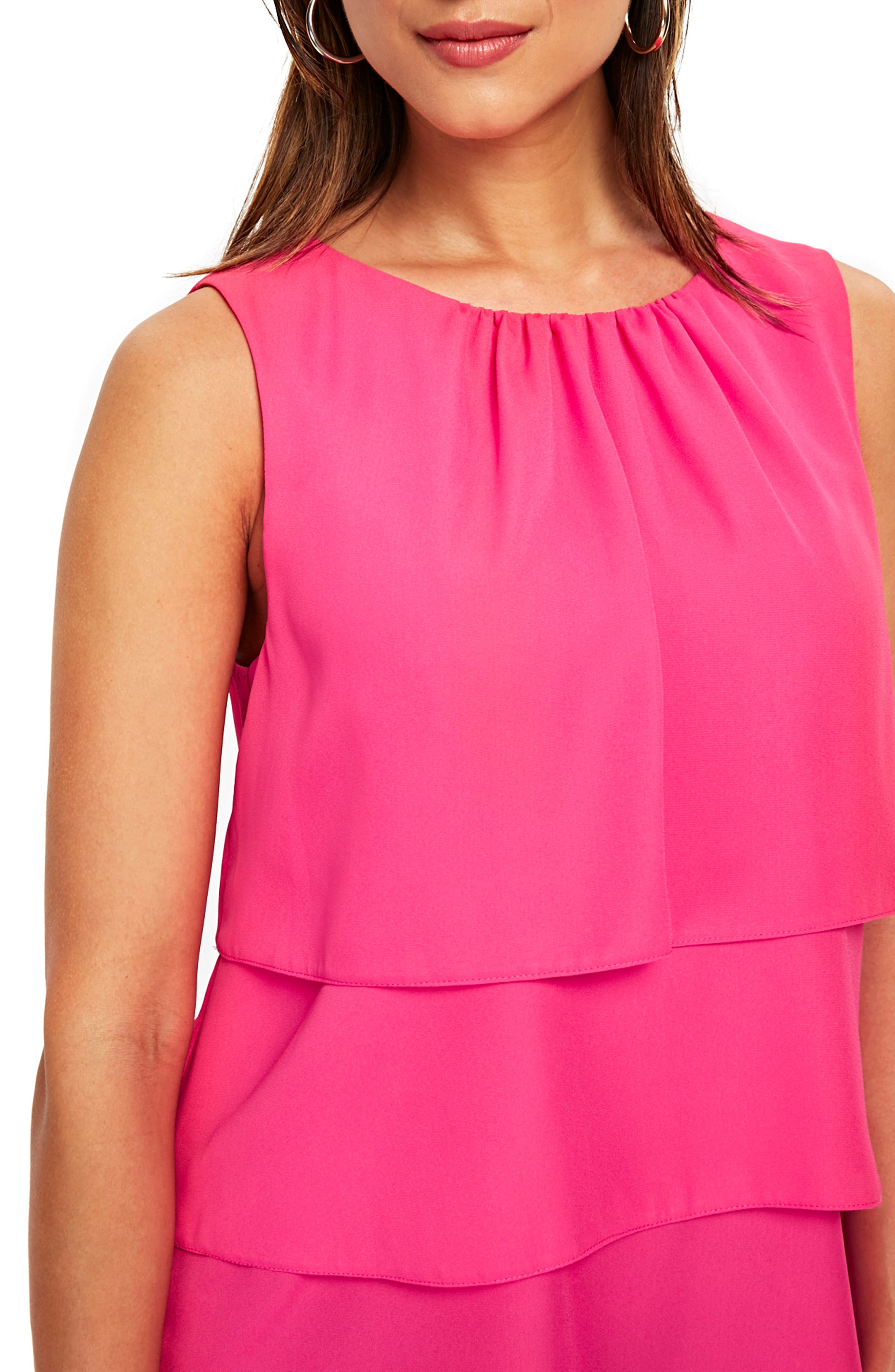Tiered Sleeveless Top,                             Alternate thumbnail 3, color,                             Bright Pink