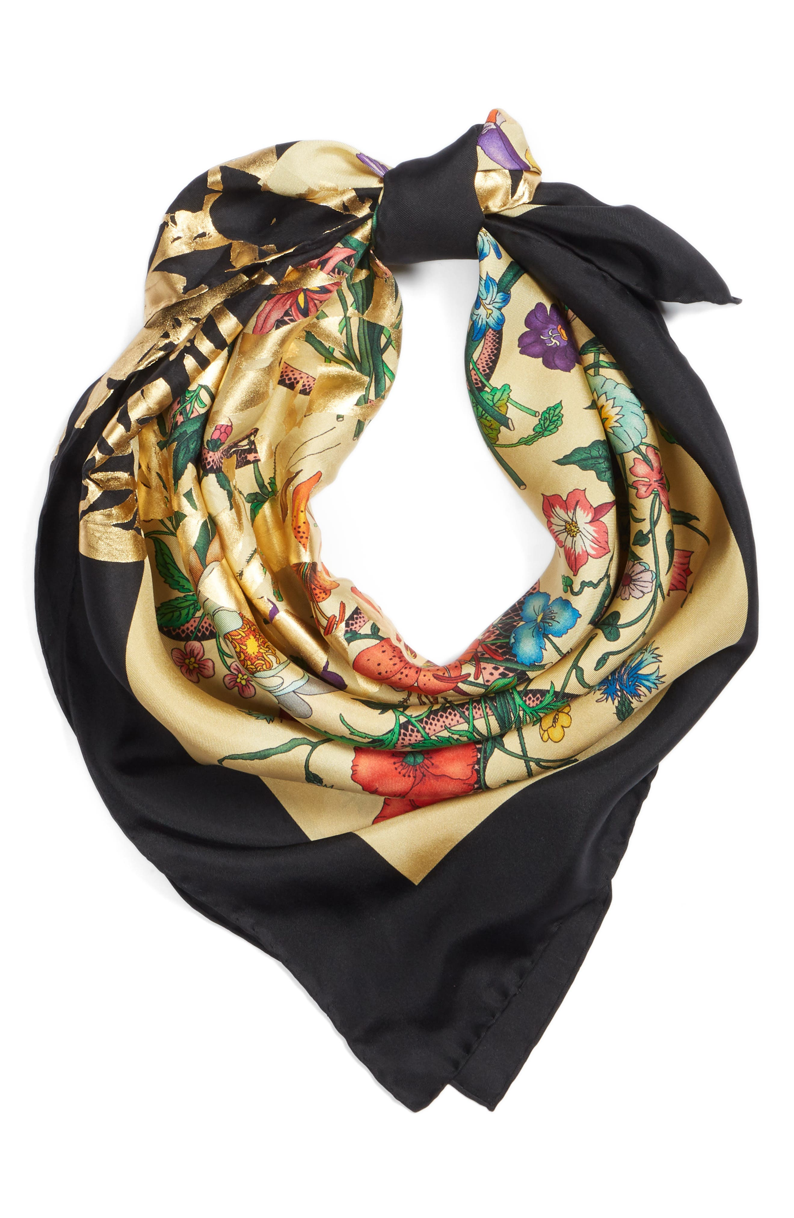 Gold Snake Foulard Silk Scarf,                             Alternate thumbnail 3, color,                             Ivory/ Yellow