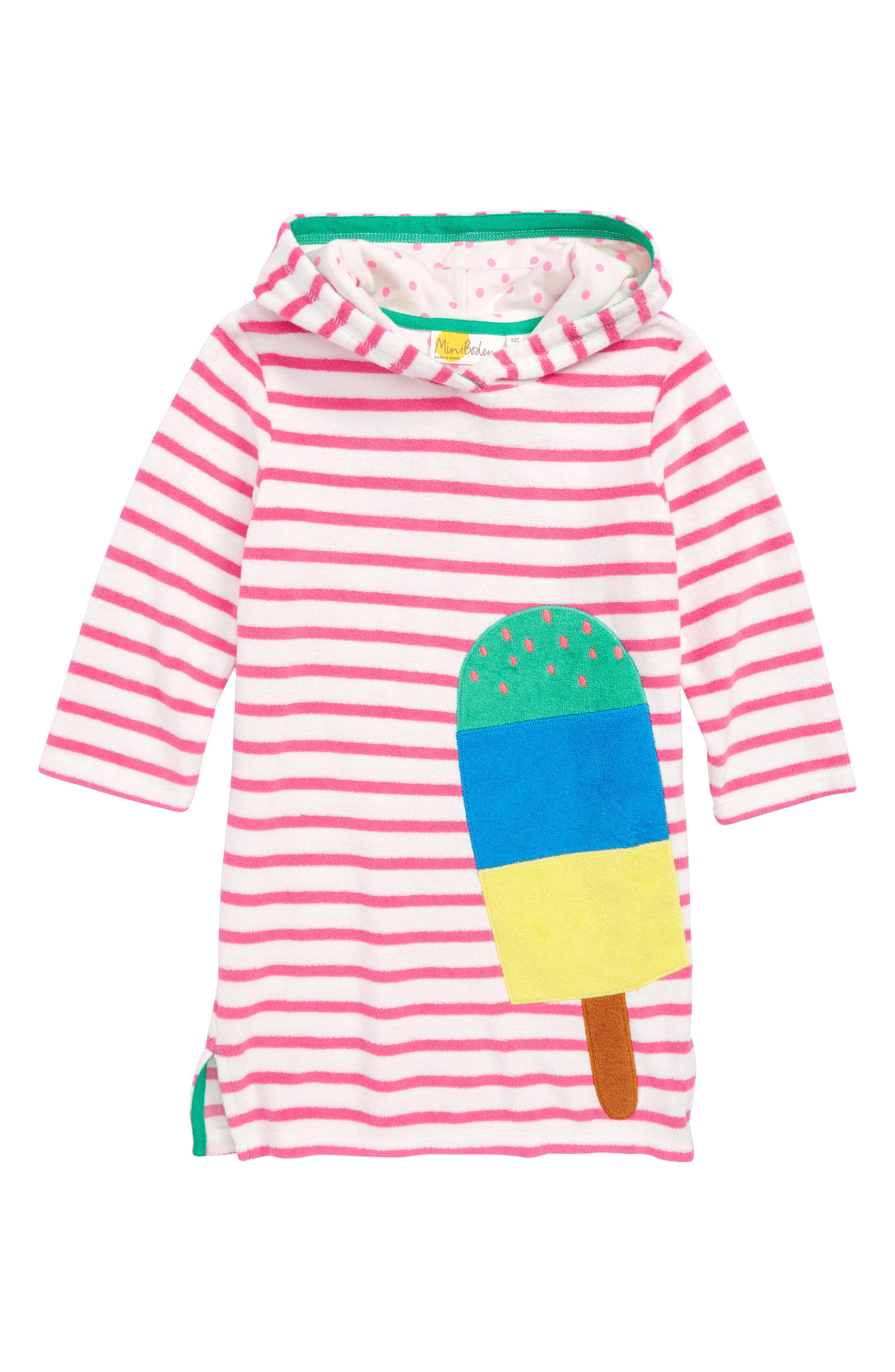 Appliqué Hooded Cover-Up Dress,                             Main thumbnail 1, color,                             Ivory/ Knockout Pink Ice Lolly
