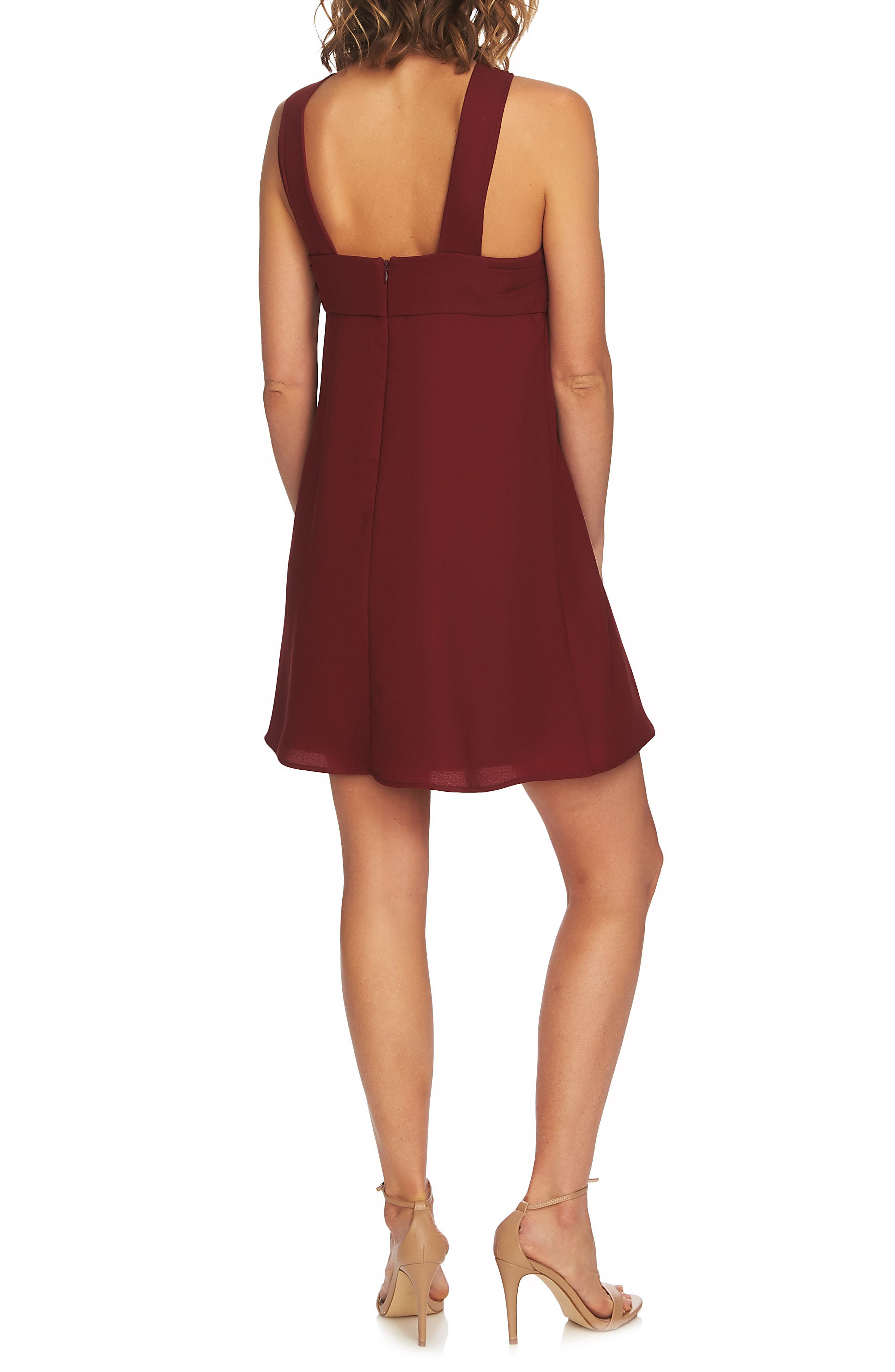 Briana Pleat Front Shift Dress,                             Alternate thumbnail 2, color,                             Cherry Wine