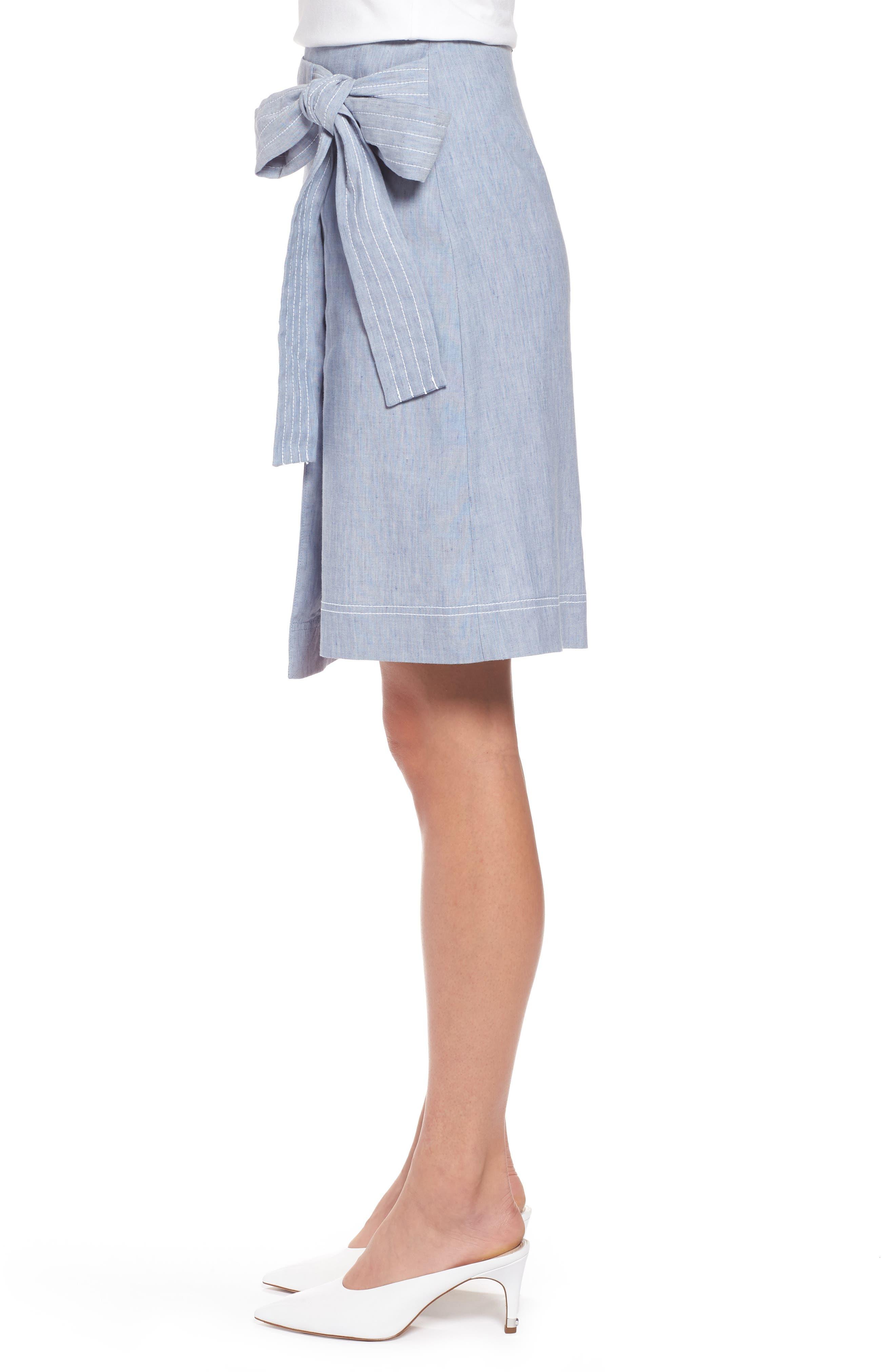 Wrap Style Chambray Linen Blend Miniskirt,                             Alternate thumbnail 3, color,                             Chambray