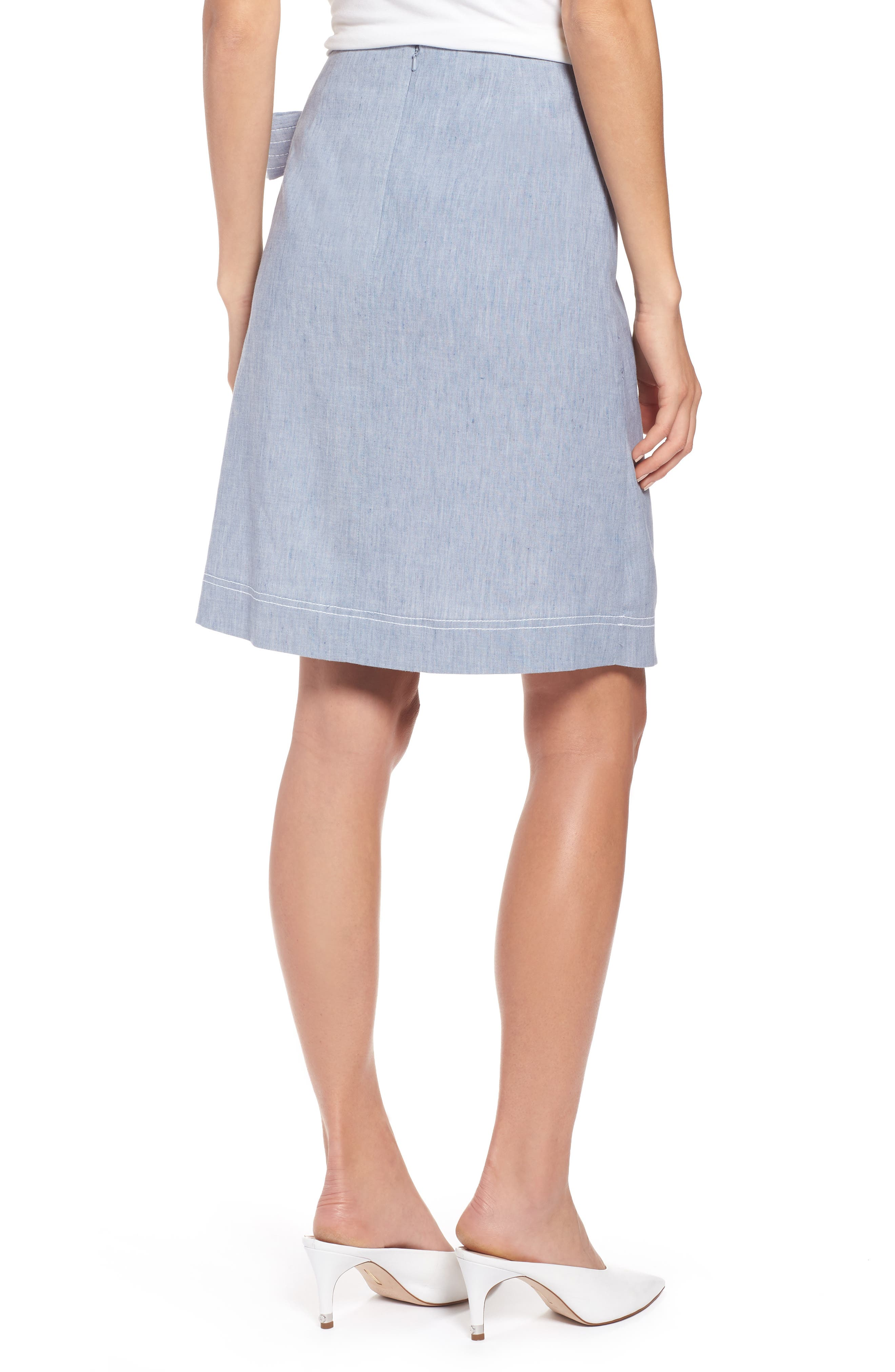 Wrap Style Chambray Linen Blend Miniskirt,                             Alternate thumbnail 2, color,                             Chambray