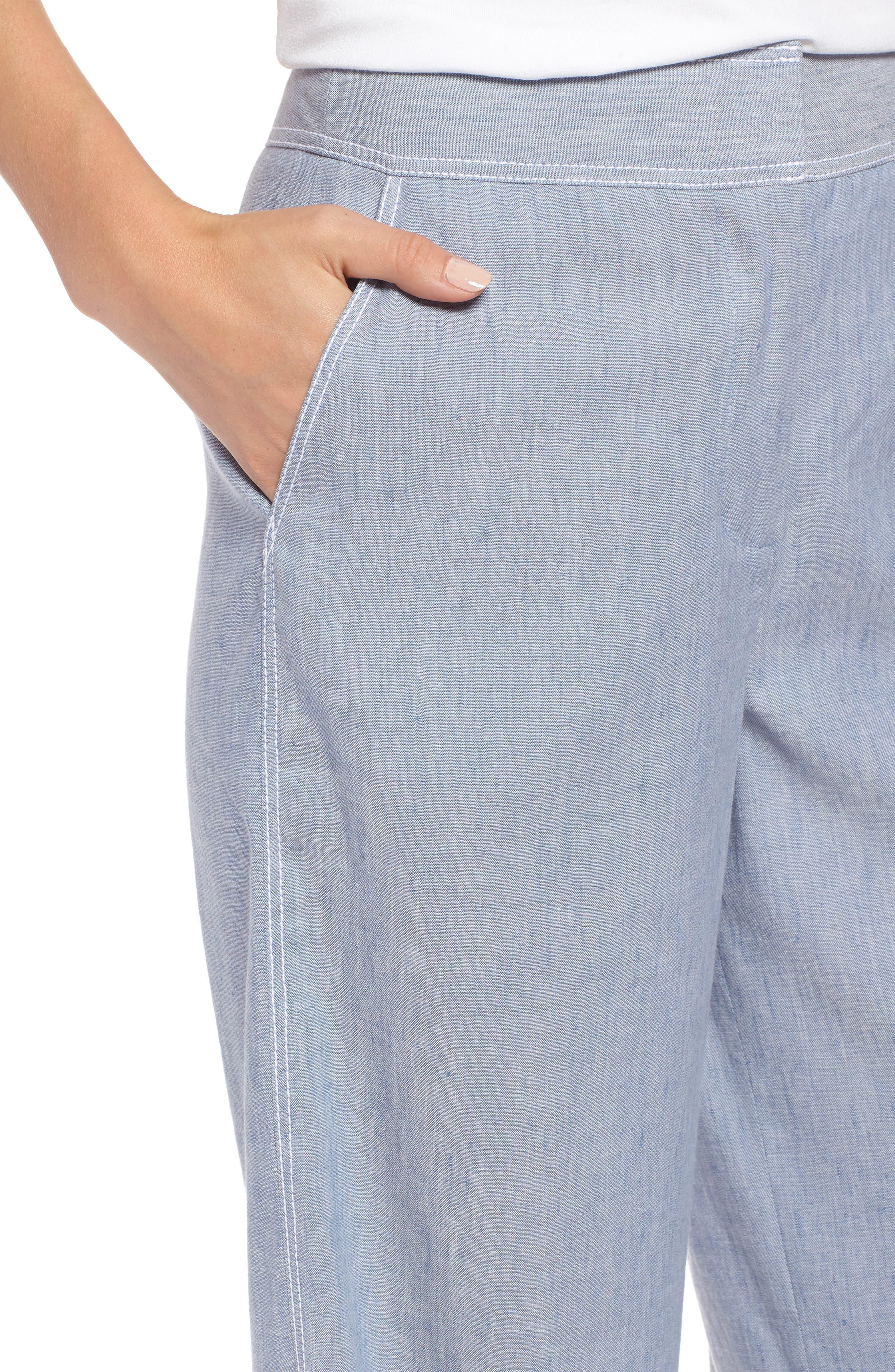 Wide Leg Linen Blend Pants,                             Alternate thumbnail 4, color,                             Chambray