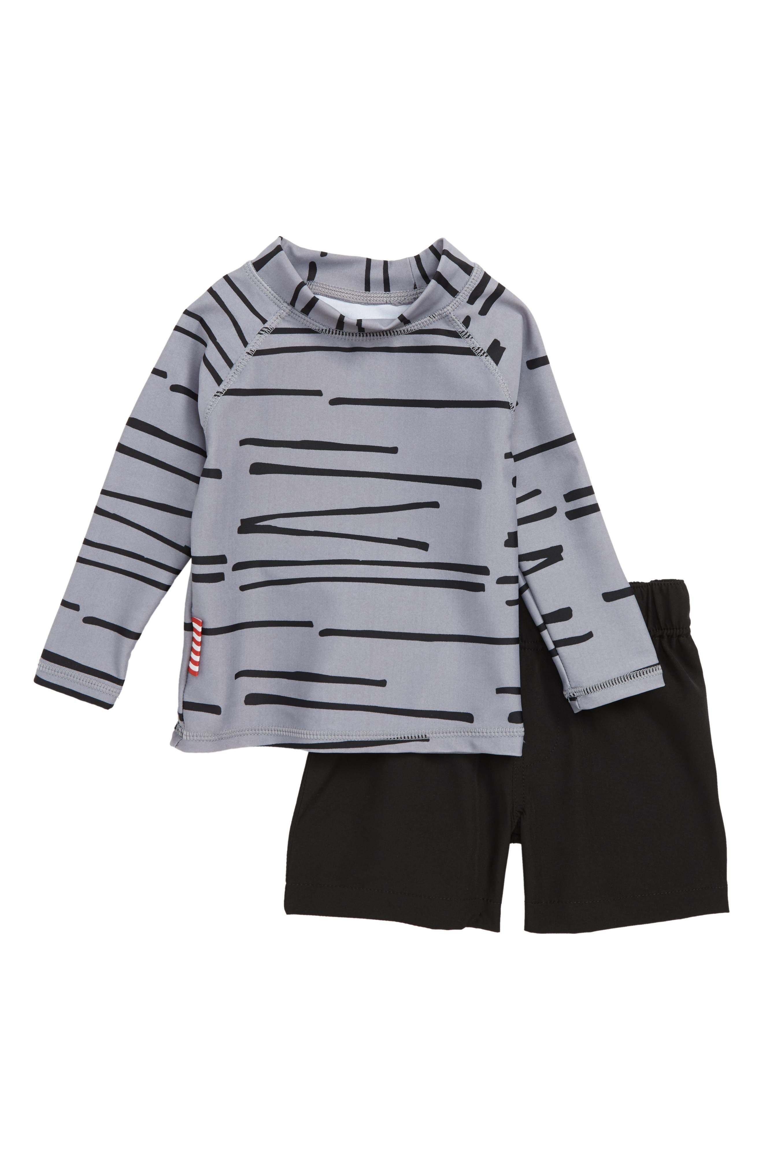 Tiger Stripe Rashguard & Board Shorts Set,                             Main thumbnail 1, color,                             Multi