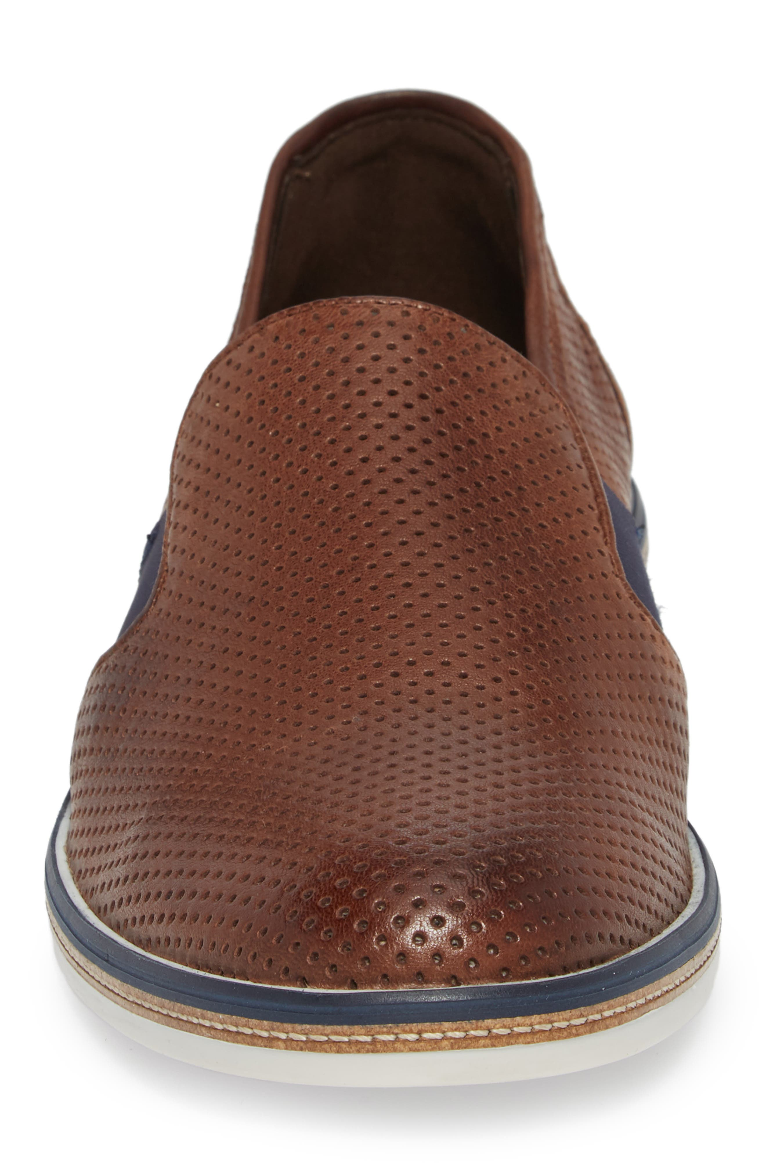 Alister Perforated Loafer,                             Alternate thumbnail 4, color,                             Tobacco Leather