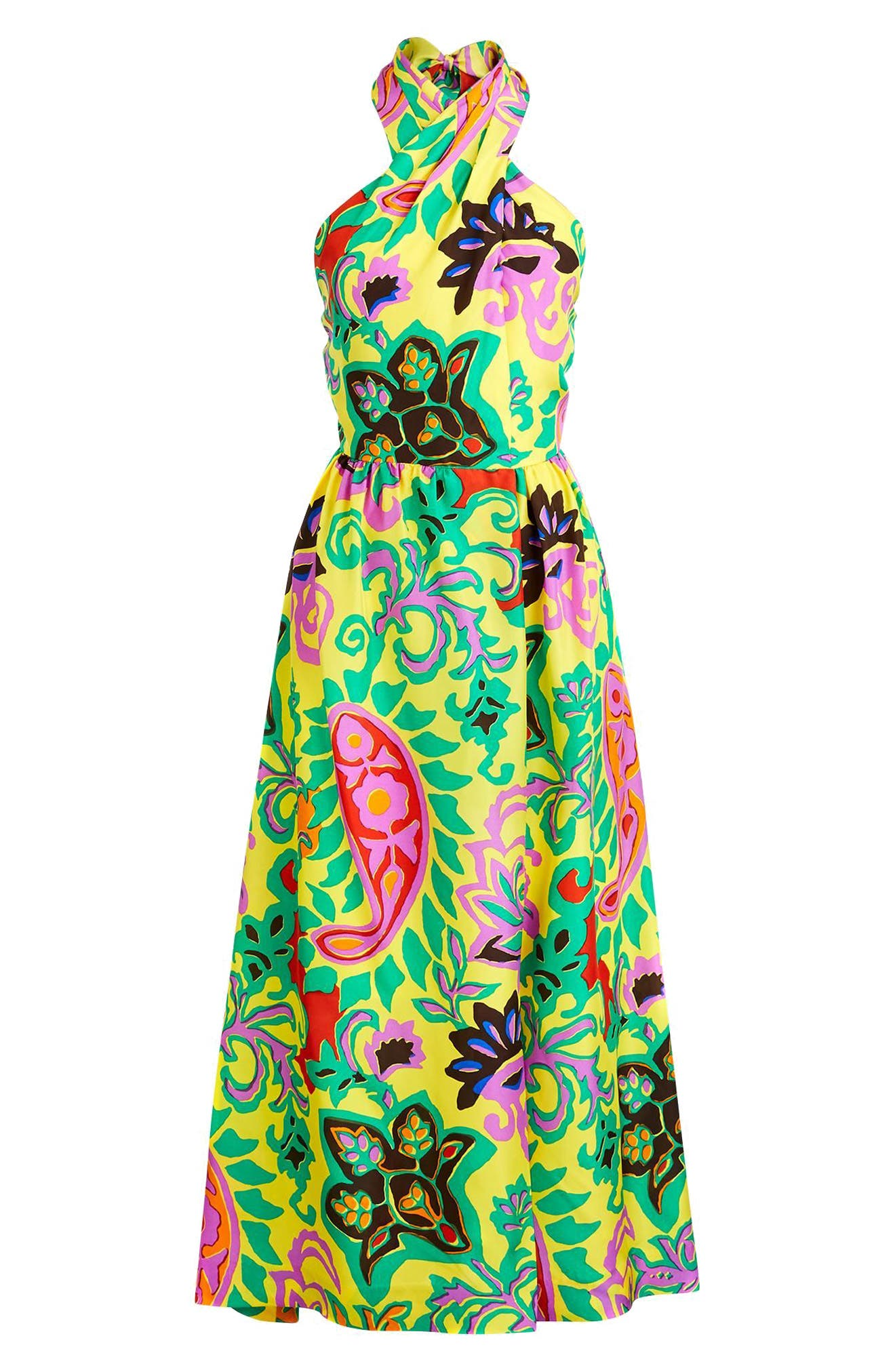 Paisley Silk Maxi Sarong Dress,                             Alternate thumbnail 4, color,                             Green Violet Multi
