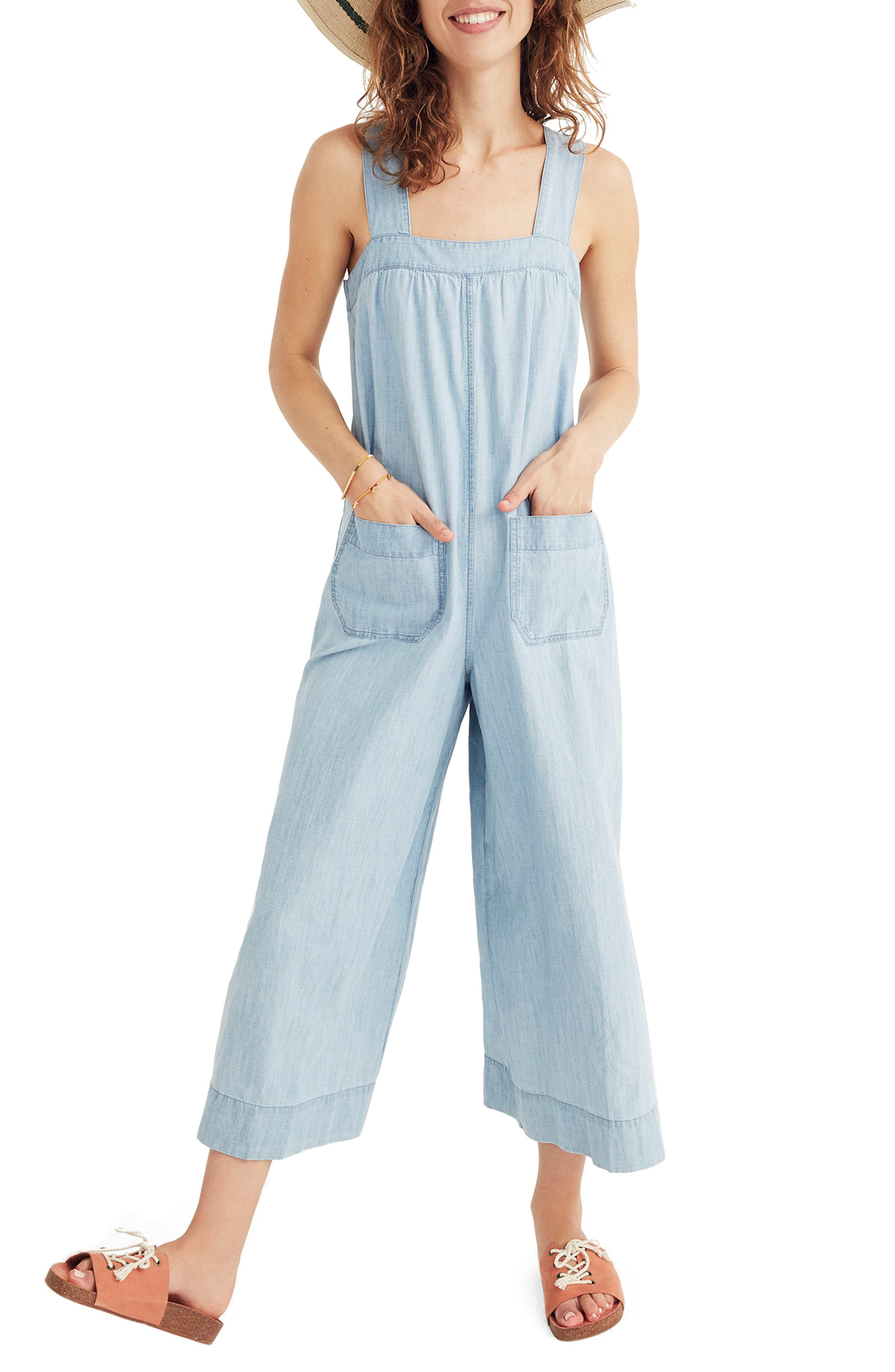 Chambray Wide Leg Jumpsuit,                             Main thumbnail 1, color,                             Cold Spring Wash