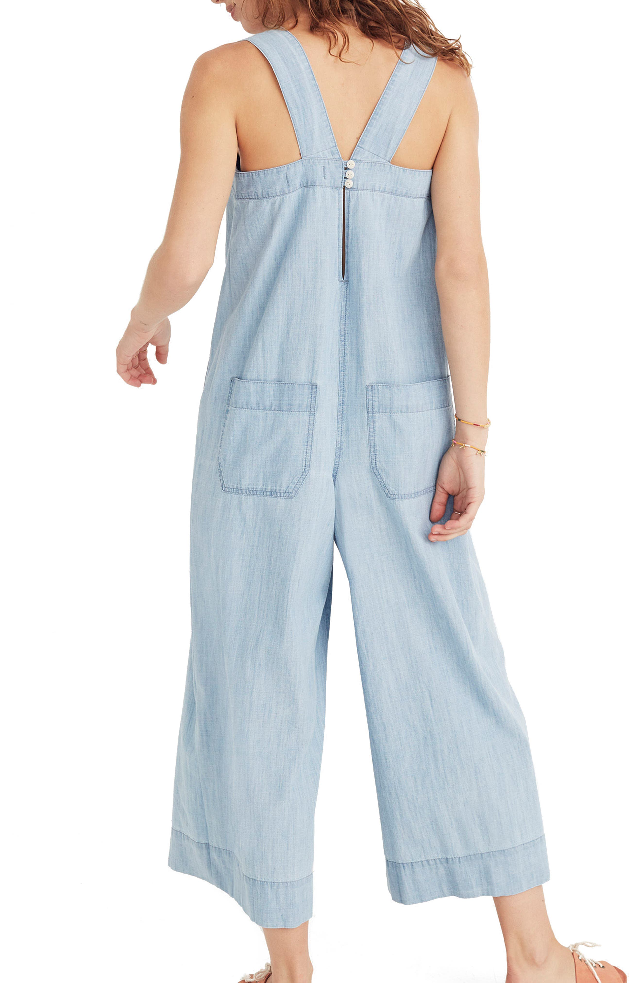 Chambray Wide Leg Jumpsuit,                             Alternate thumbnail 2, color,                             Cold Spring Wash