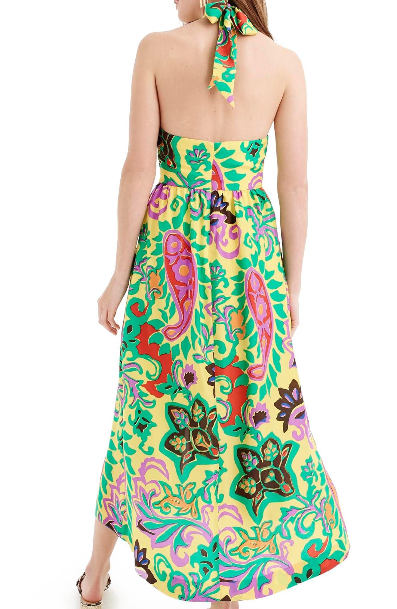 Paisley Silk Maxi Sarong Dress,                             Alternate thumbnail 3, color,                             Green Violet Multi
