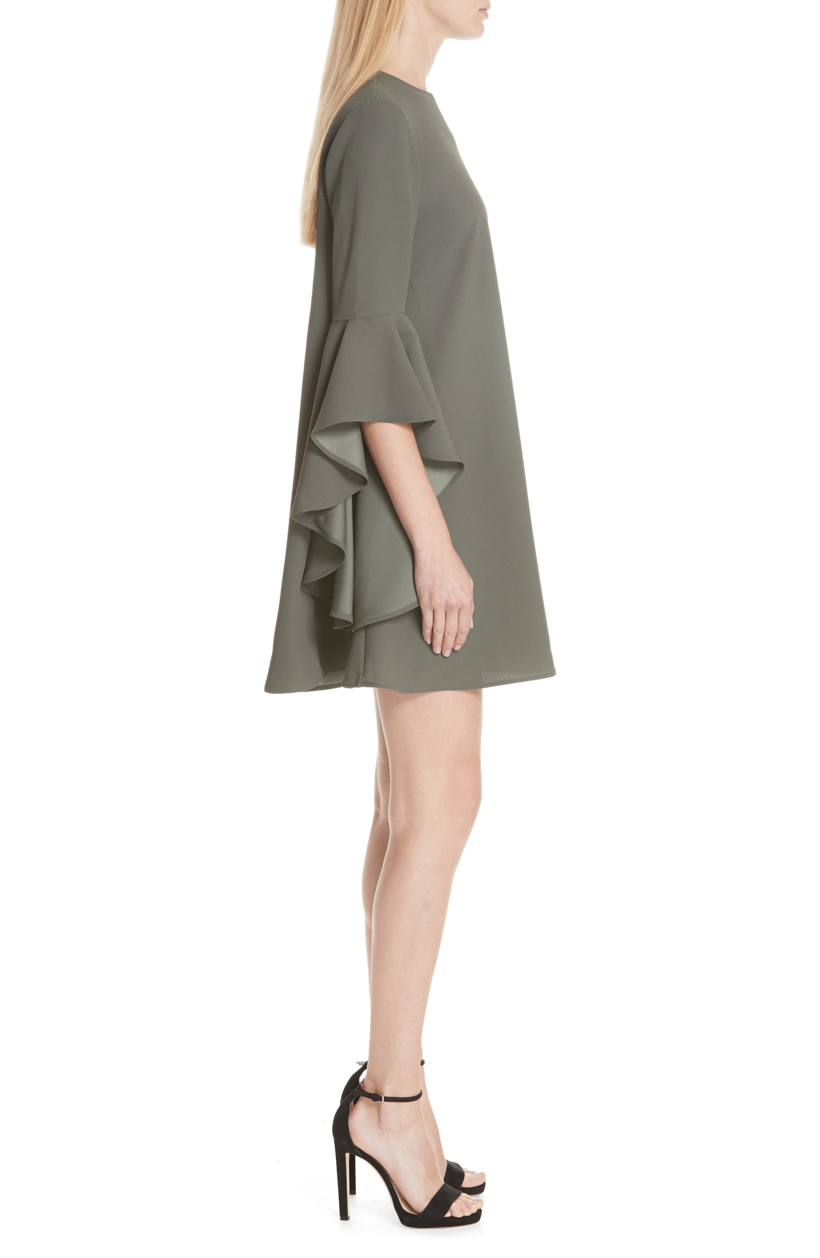 Ashley Waterfall Sleeve A-Line Dress,                             Alternate thumbnail 3, color,                             Dark Green
