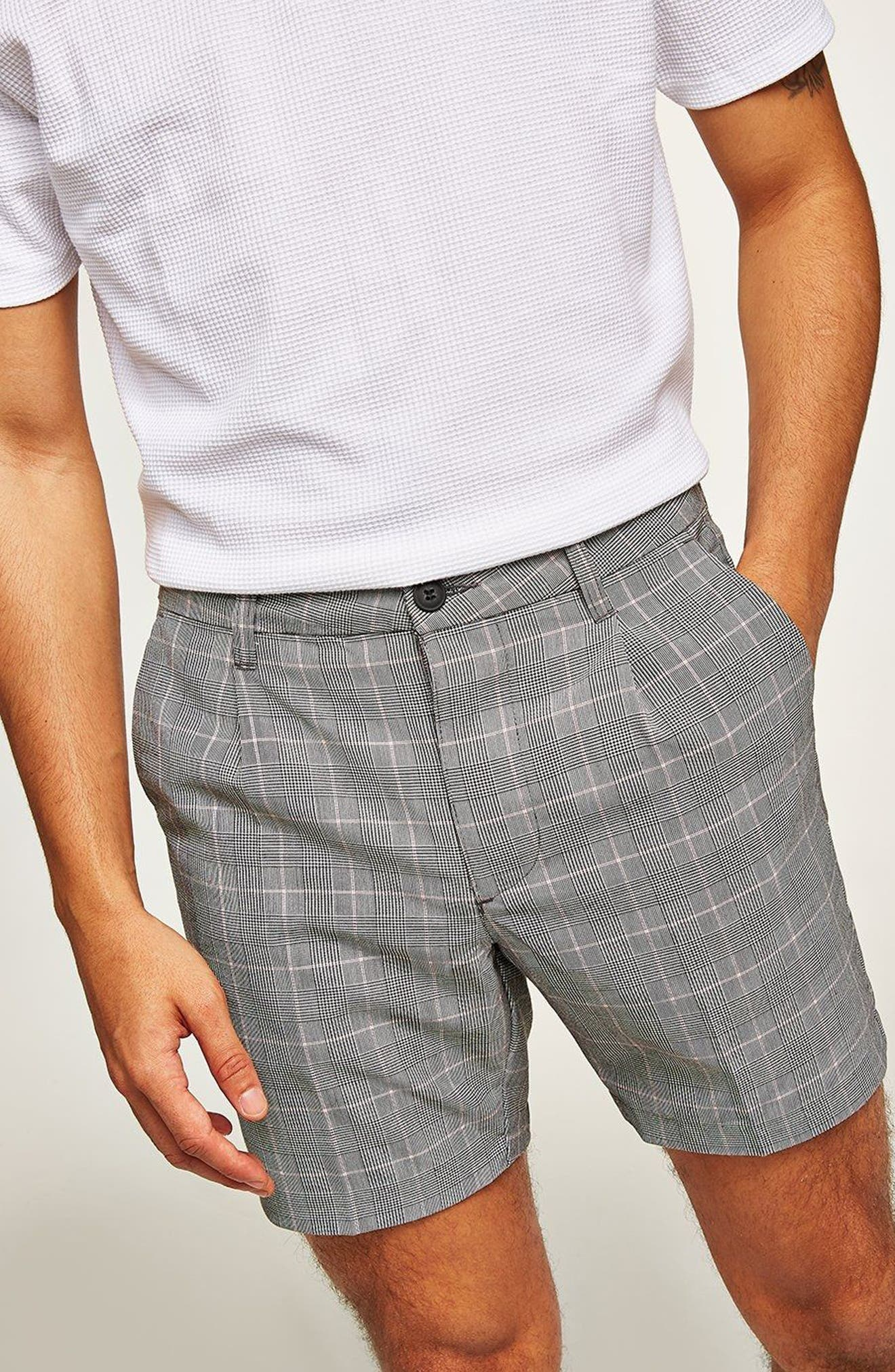 Pleated Check Shorts,                             Alternate thumbnail 3, color,                             Grey Multi