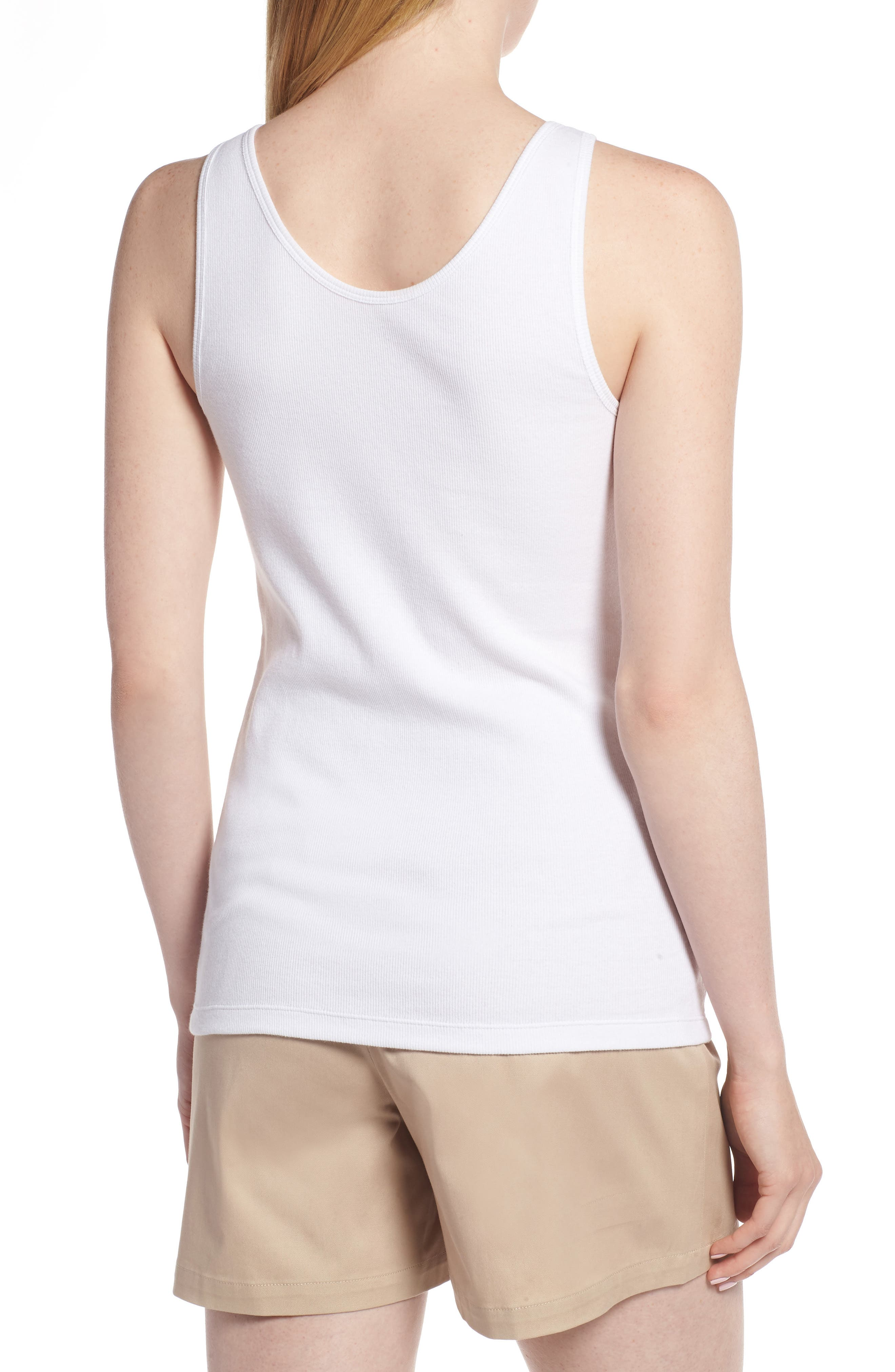 Ribbed Henley Cotton Blend Tank Top,                             Alternate thumbnail 2, color,                             White