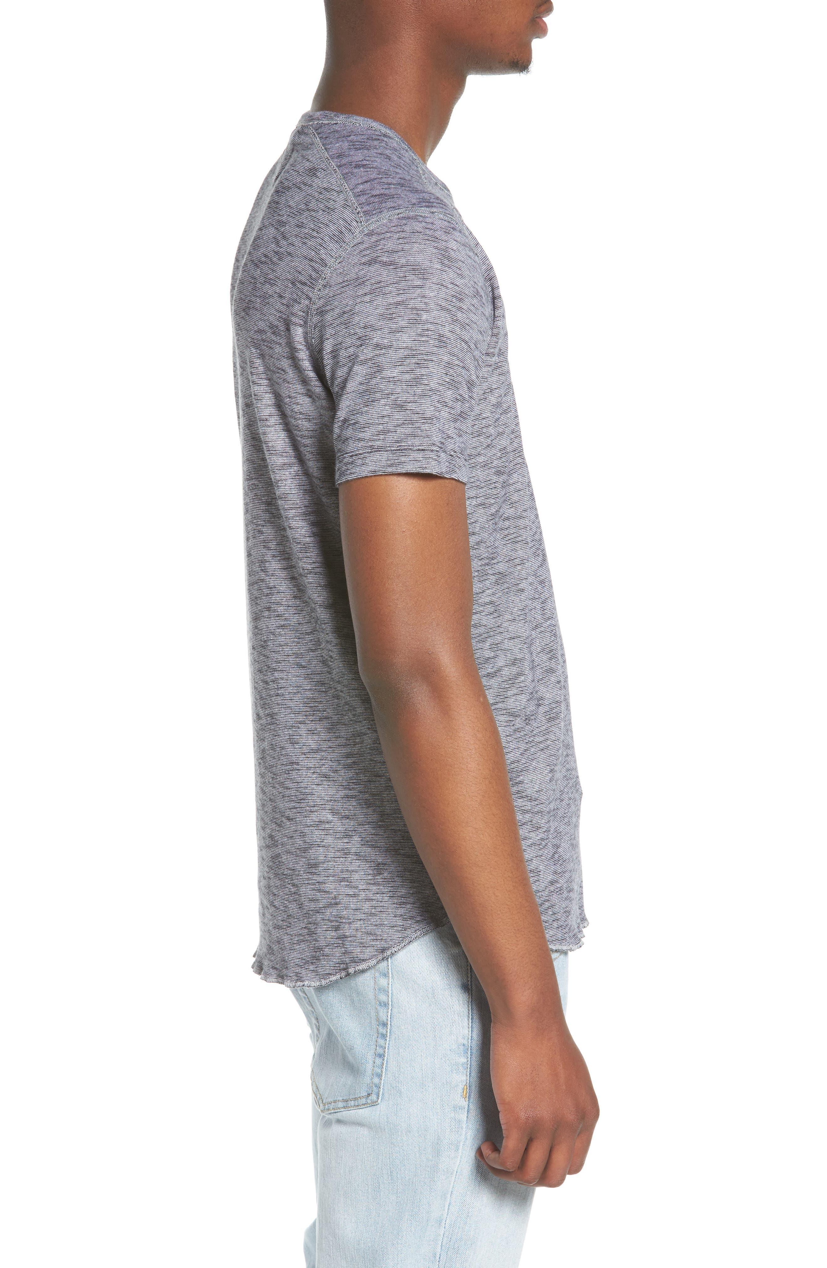 Ribbed Slub Cotton T-Shirt,                             Alternate thumbnail 3, color,                             Feeder Stripe Grey