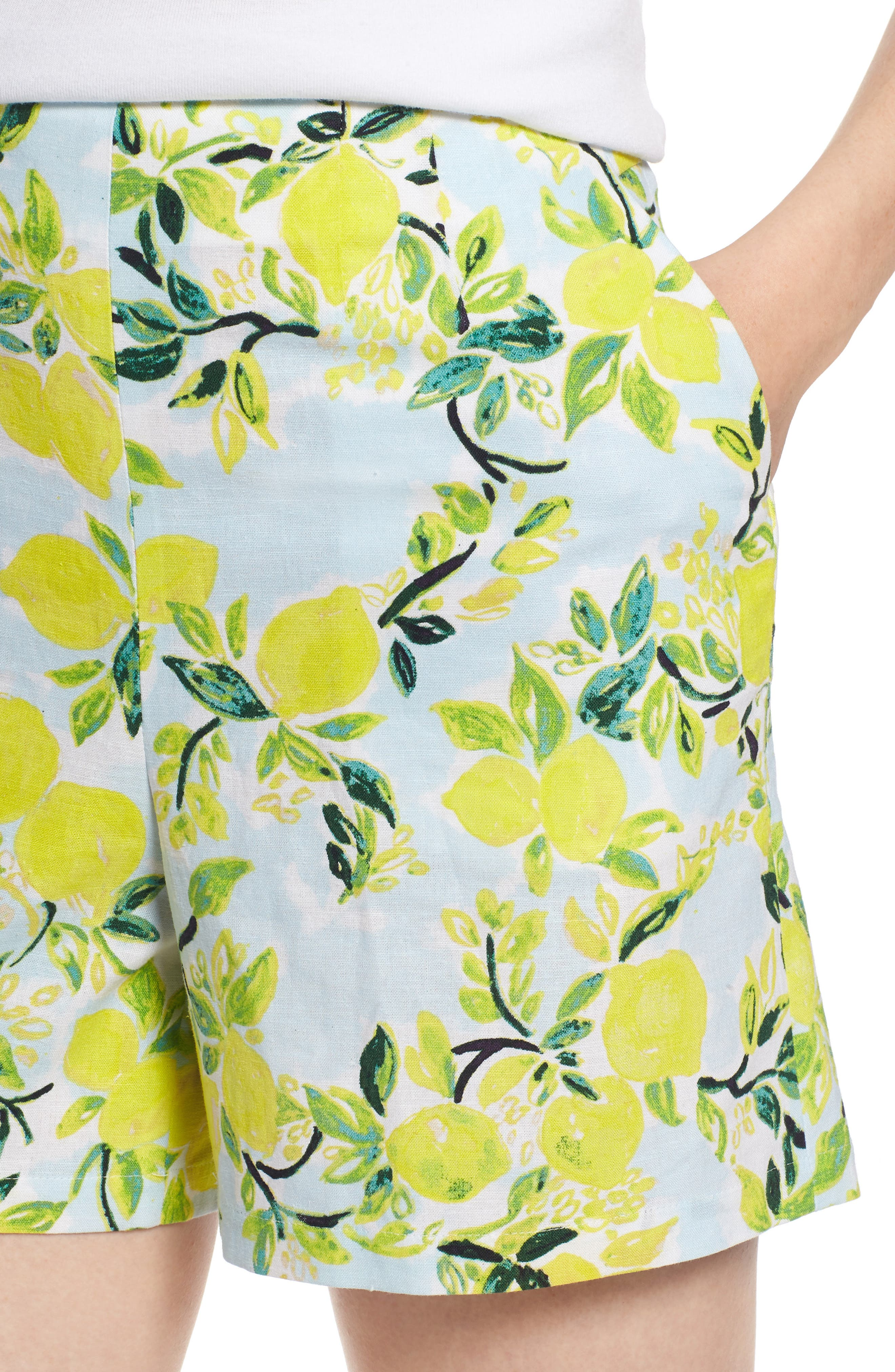 Print Linen Blend Shorts,                             Alternate thumbnail 4, color,                             Blue- Yellow Citrus Print