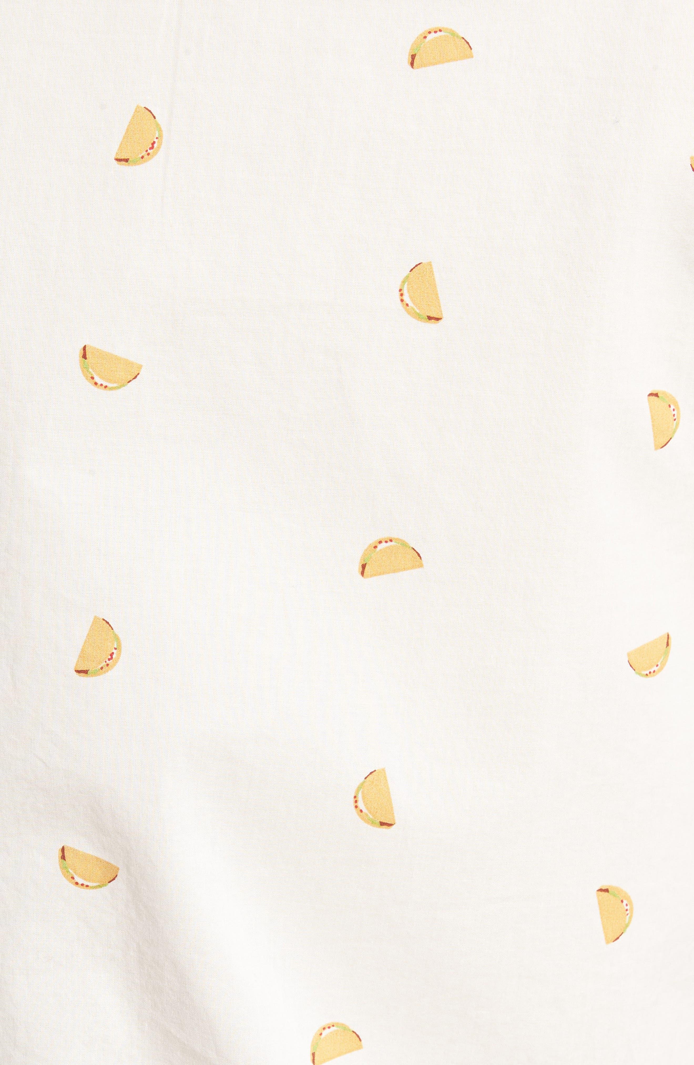 Summerweight Slim Fit Taco Print Sport Shirt,                             Alternate thumbnail 5, color,                             Taco Toss - Golden Lotus