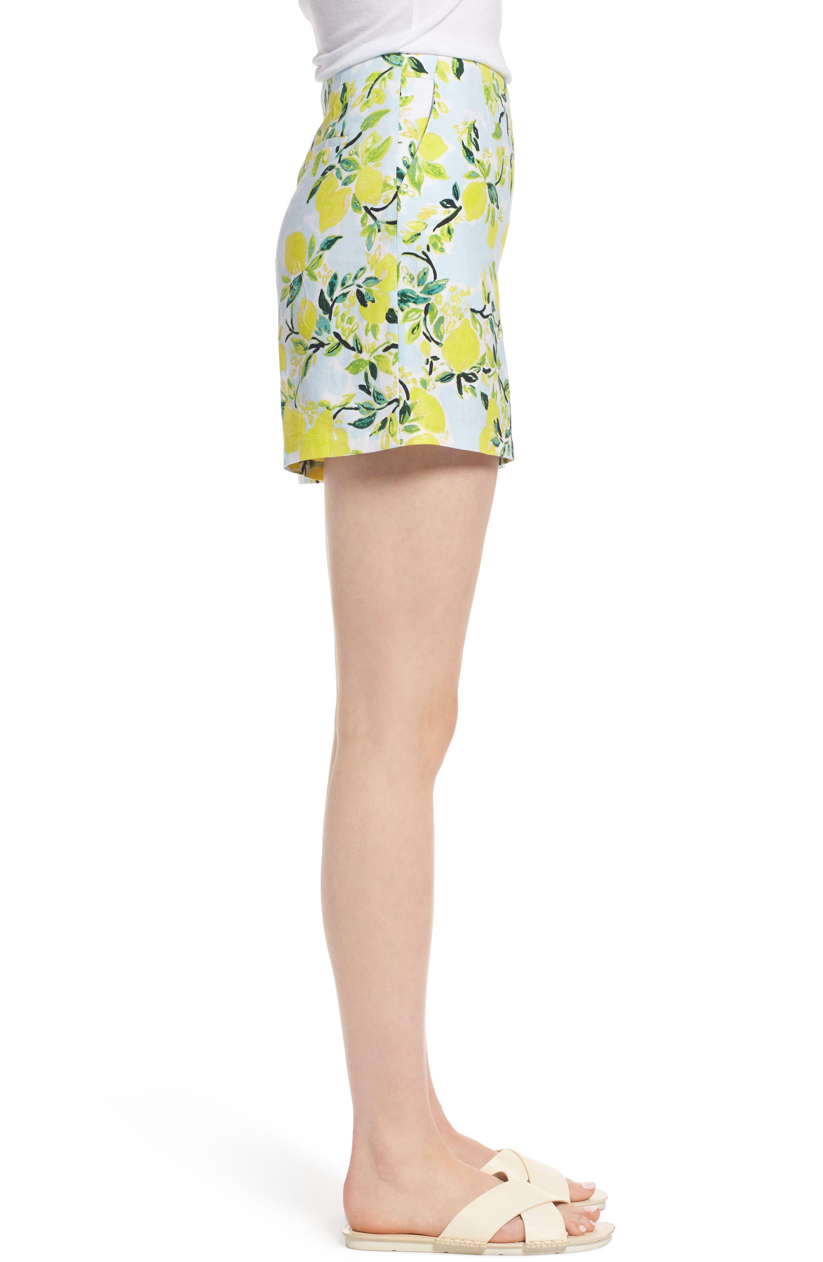 Print Linen Blend Shorts,                             Alternate thumbnail 3, color,                             Blue- Yellow Citrus Print