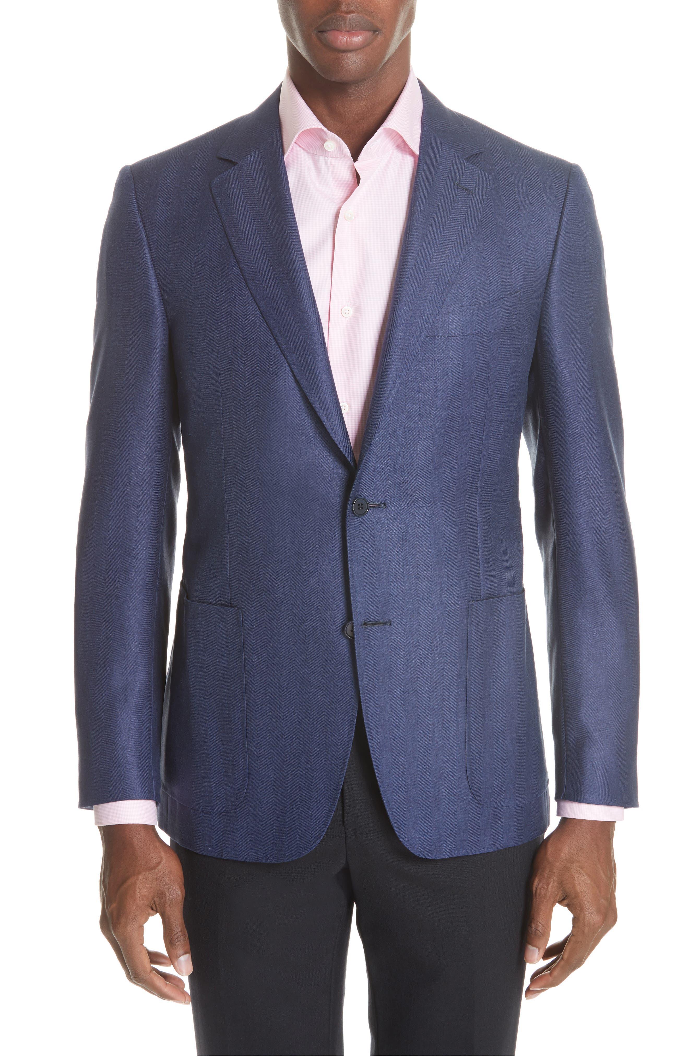 Venezia Classic Fit Herringbone Wool Blend Sport Coat,                             Main thumbnail 1, color,                             Blue