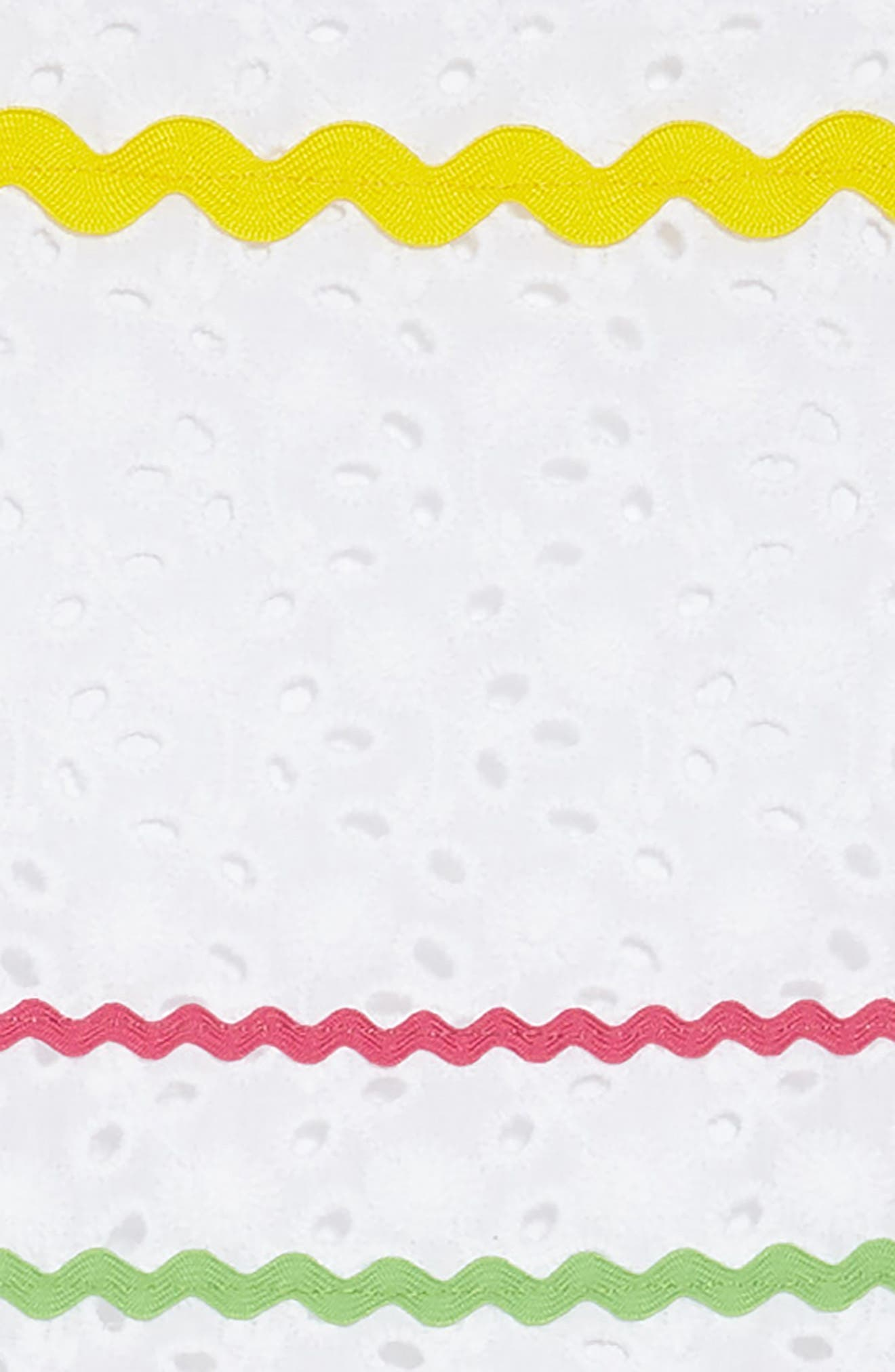 Rickrack Stripe Eyelet Dress,                             Alternate thumbnail 3, color,                             White
