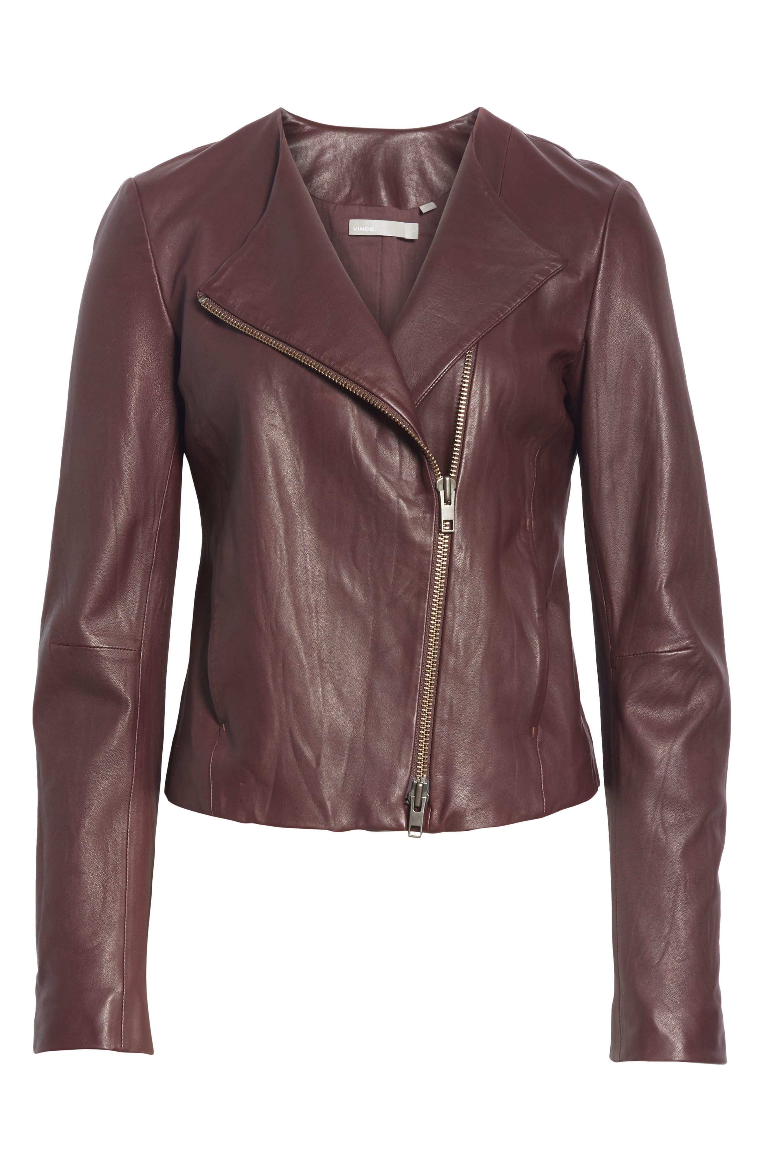 Zip Cross Front Leather Jacket,                             Alternate thumbnail 7, color,                             Black Cherry