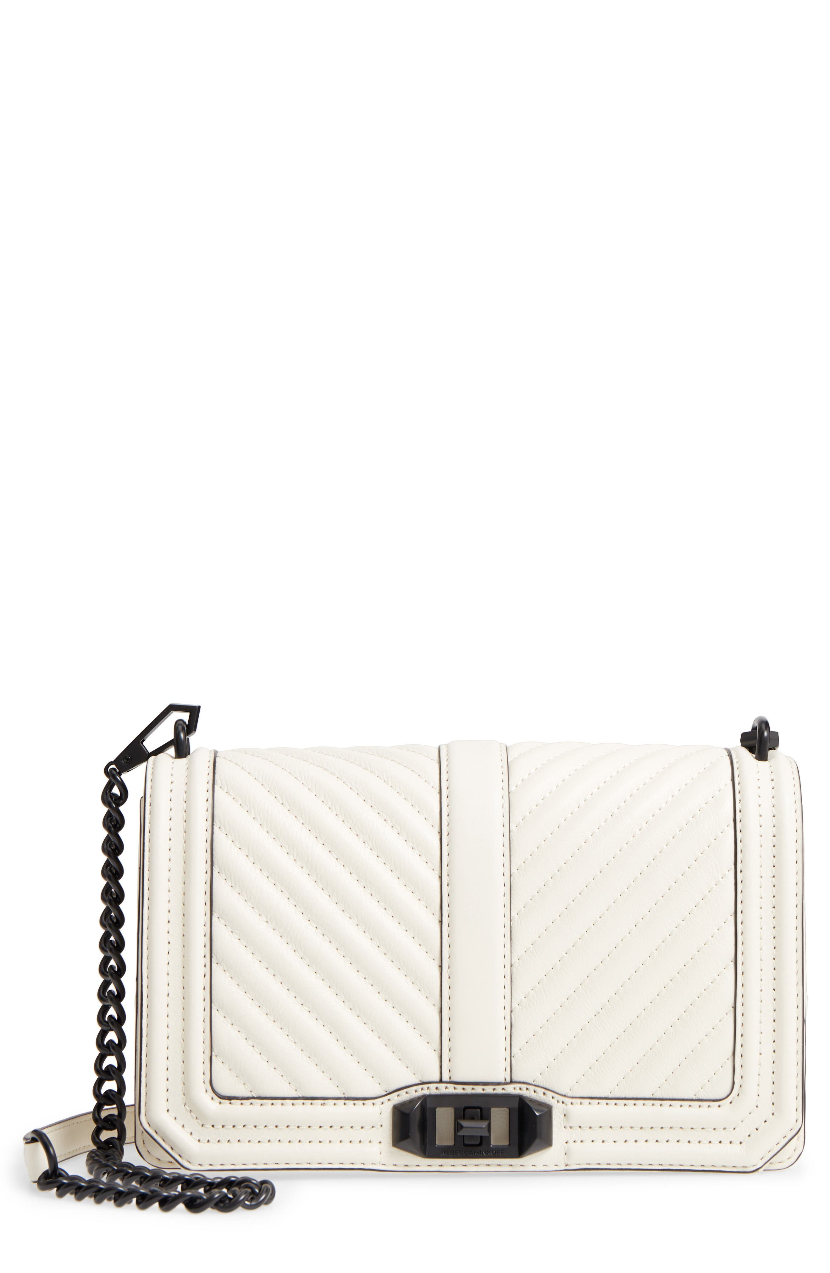 'Chevron Quilted Love' Crossbody Bag,                         Main,                         color, Antique White