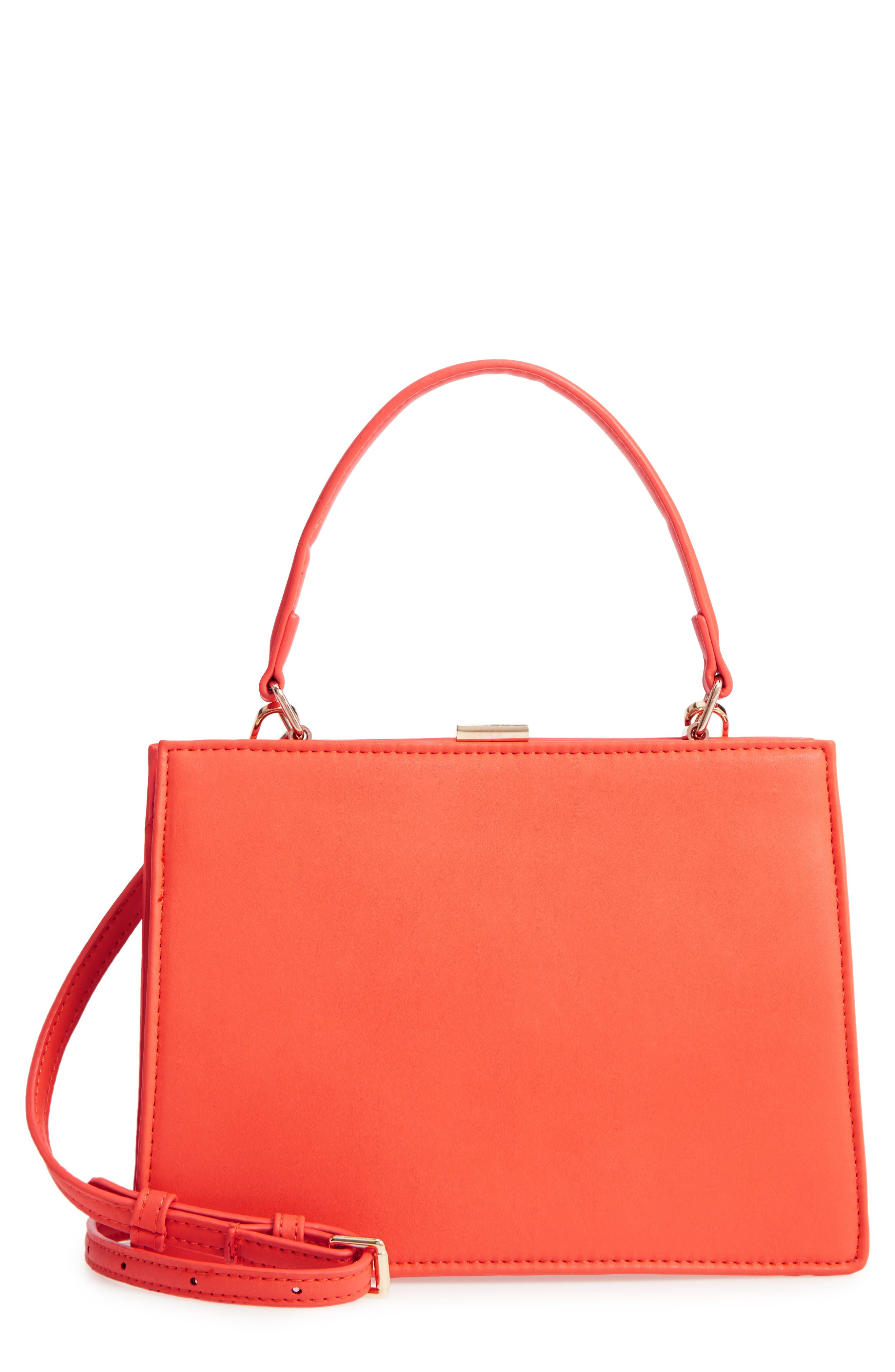 Faux Leather Frame Handbag,                         Main,                         color, Red