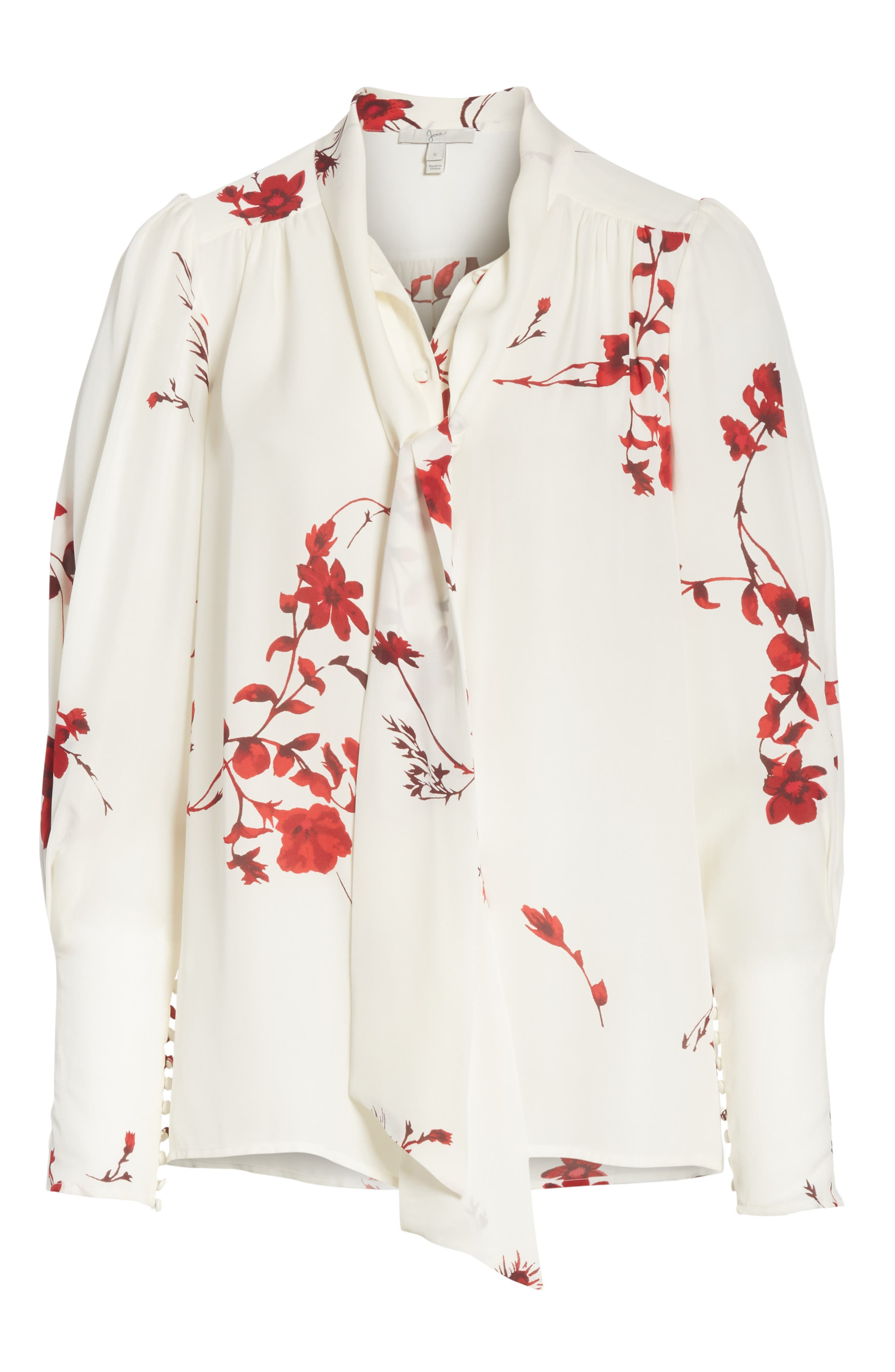 Angeletta Tie Neck Floral Silk Blouse,                             Alternate thumbnail 6, color,                             Porcelain