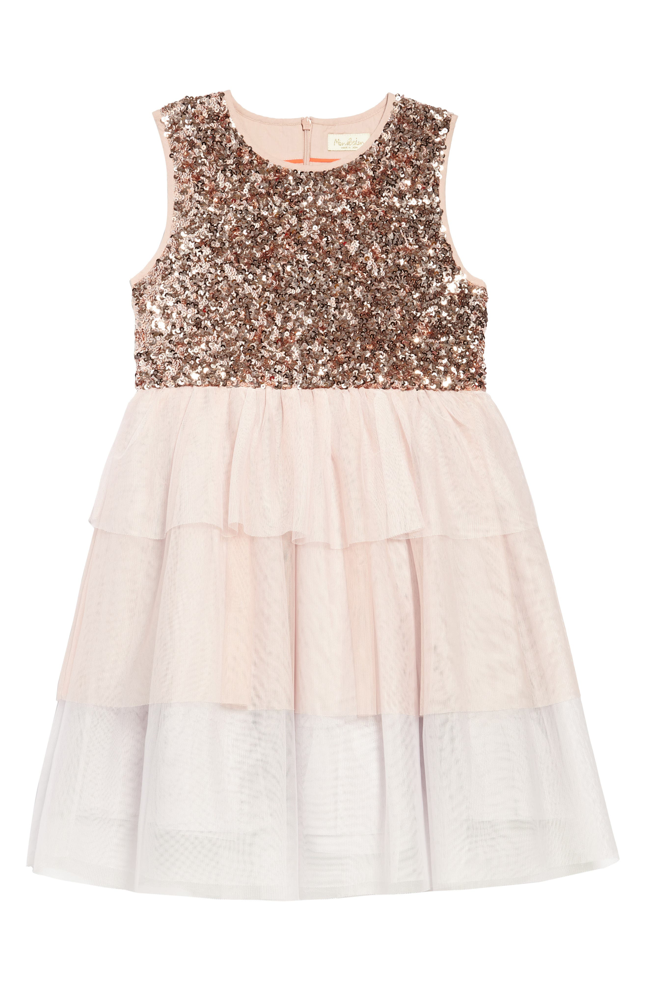 Sequin Tiered Tutu Dress,                             Main thumbnail 1, color,                             Pnkprovence Dusty Pink