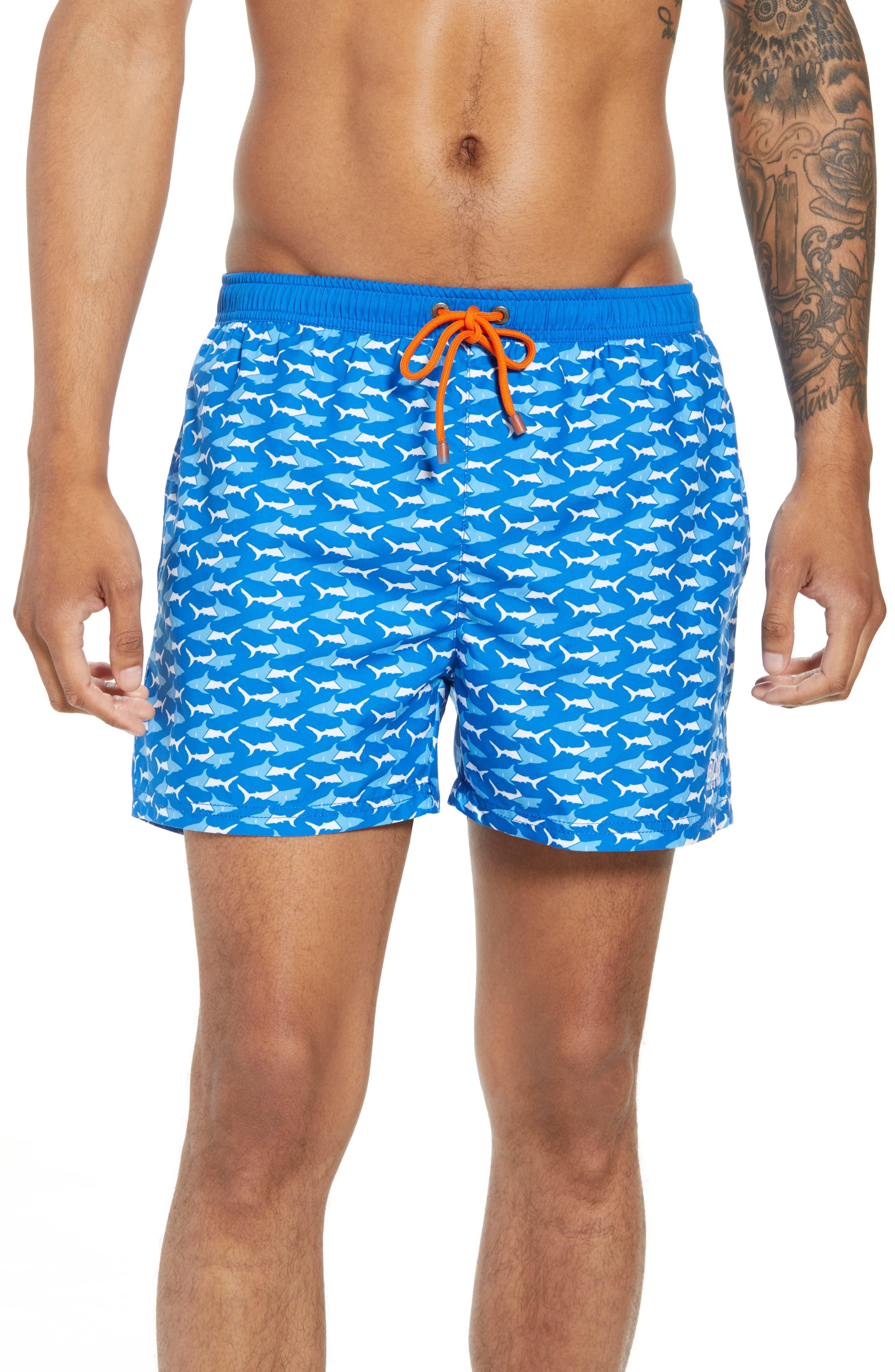 Piranha Shark Swim Trunks,                             Main thumbnail 1, color,                             Blue