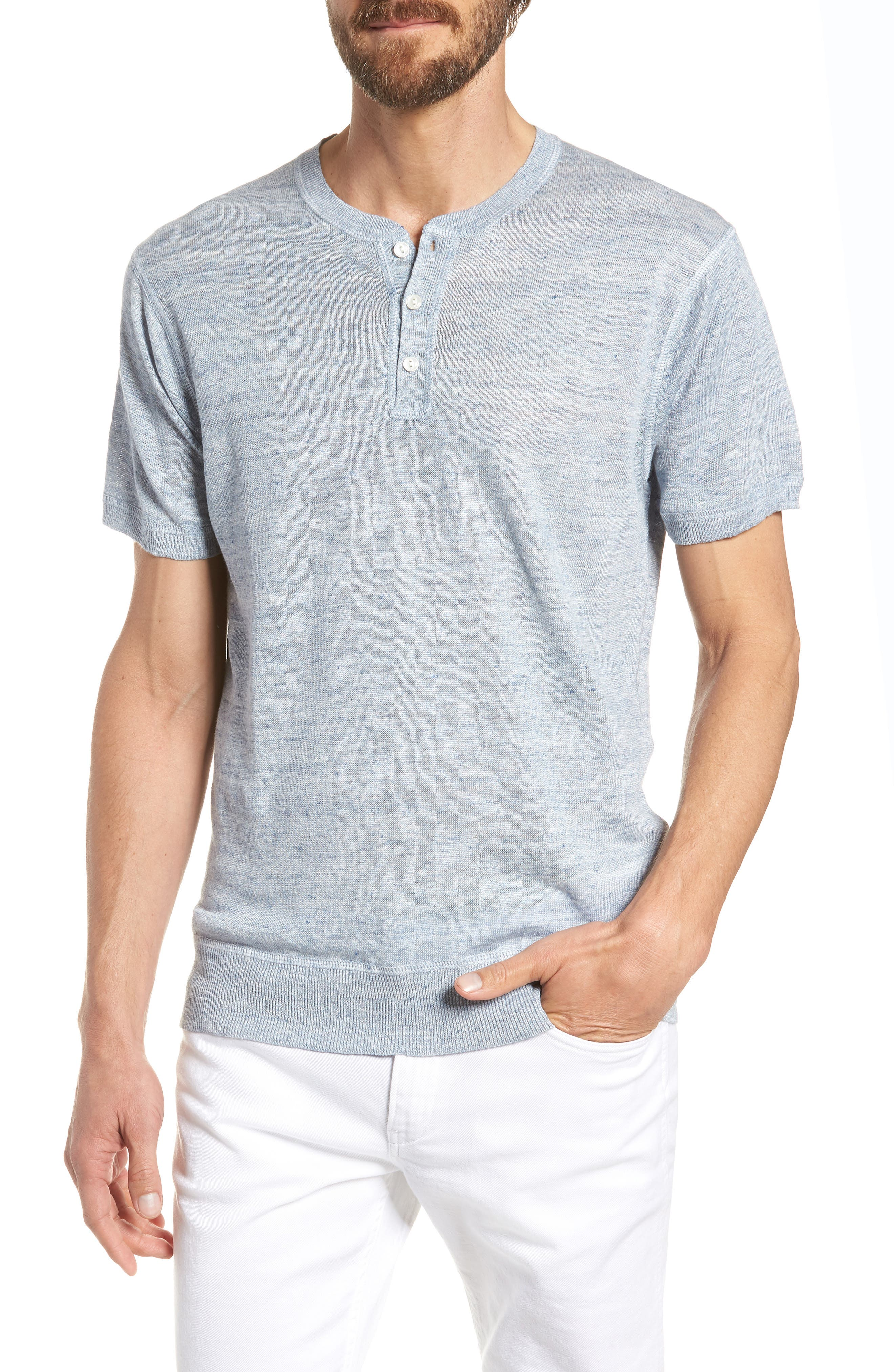 Linen Henley T-Shirt,                         Main,                         color, Cloud Blue