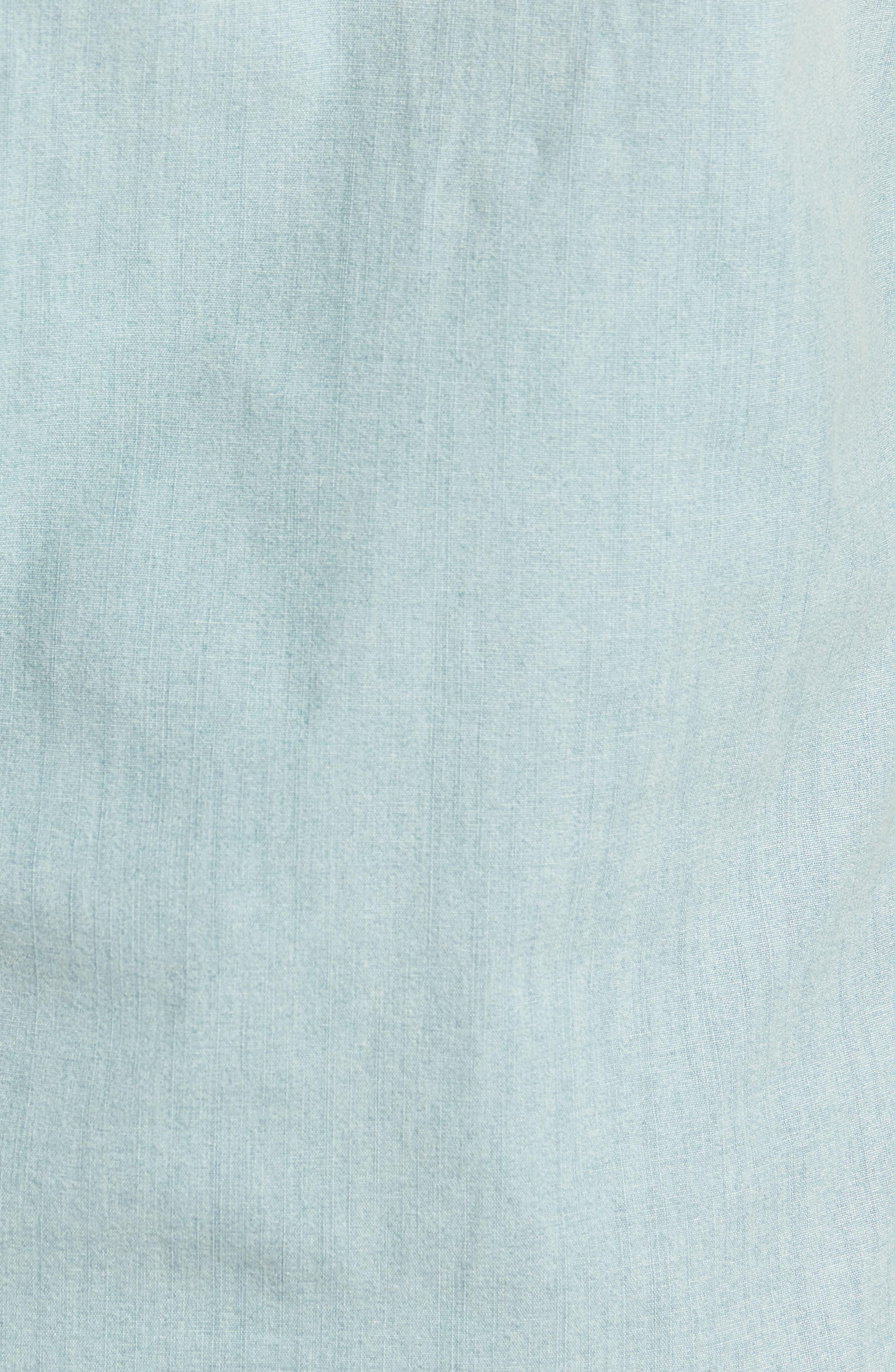 Slim Fit Stretch Chambray Shirt,                             Alternate thumbnail 5, color,                             Indigo