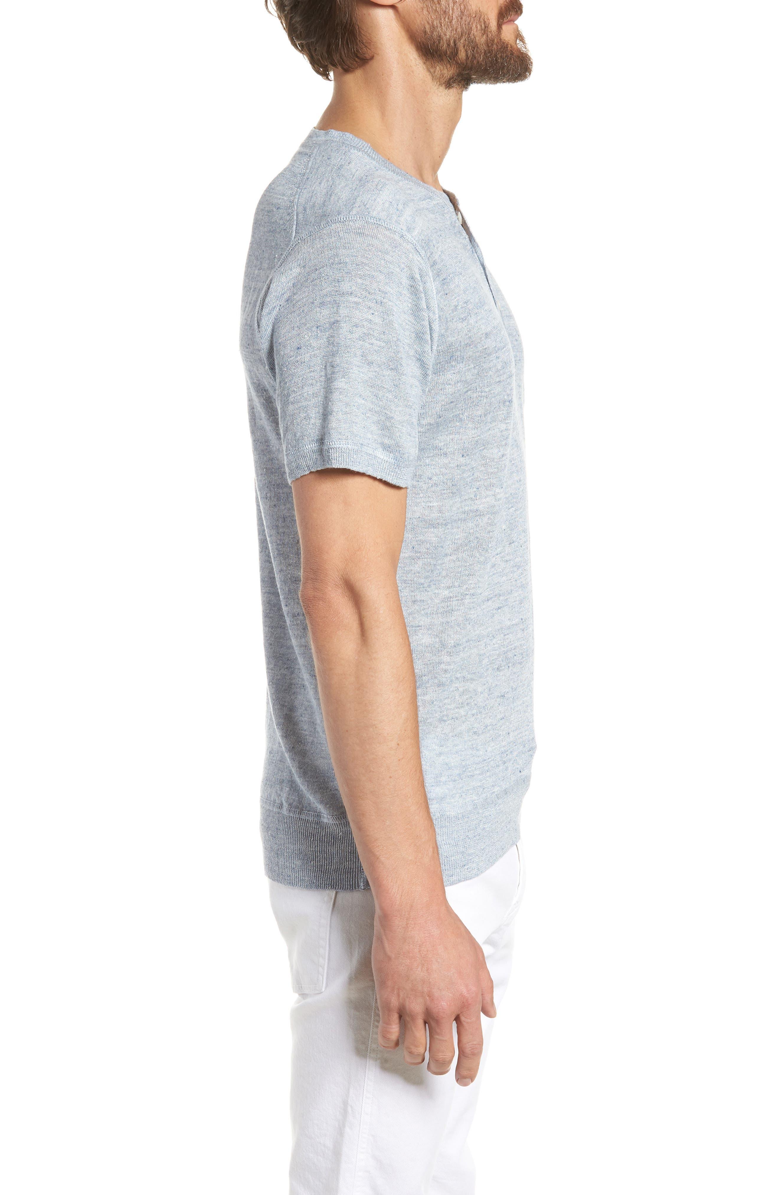 Linen Henley T-Shirt,                             Alternate thumbnail 3, color,                             Cloud Blue