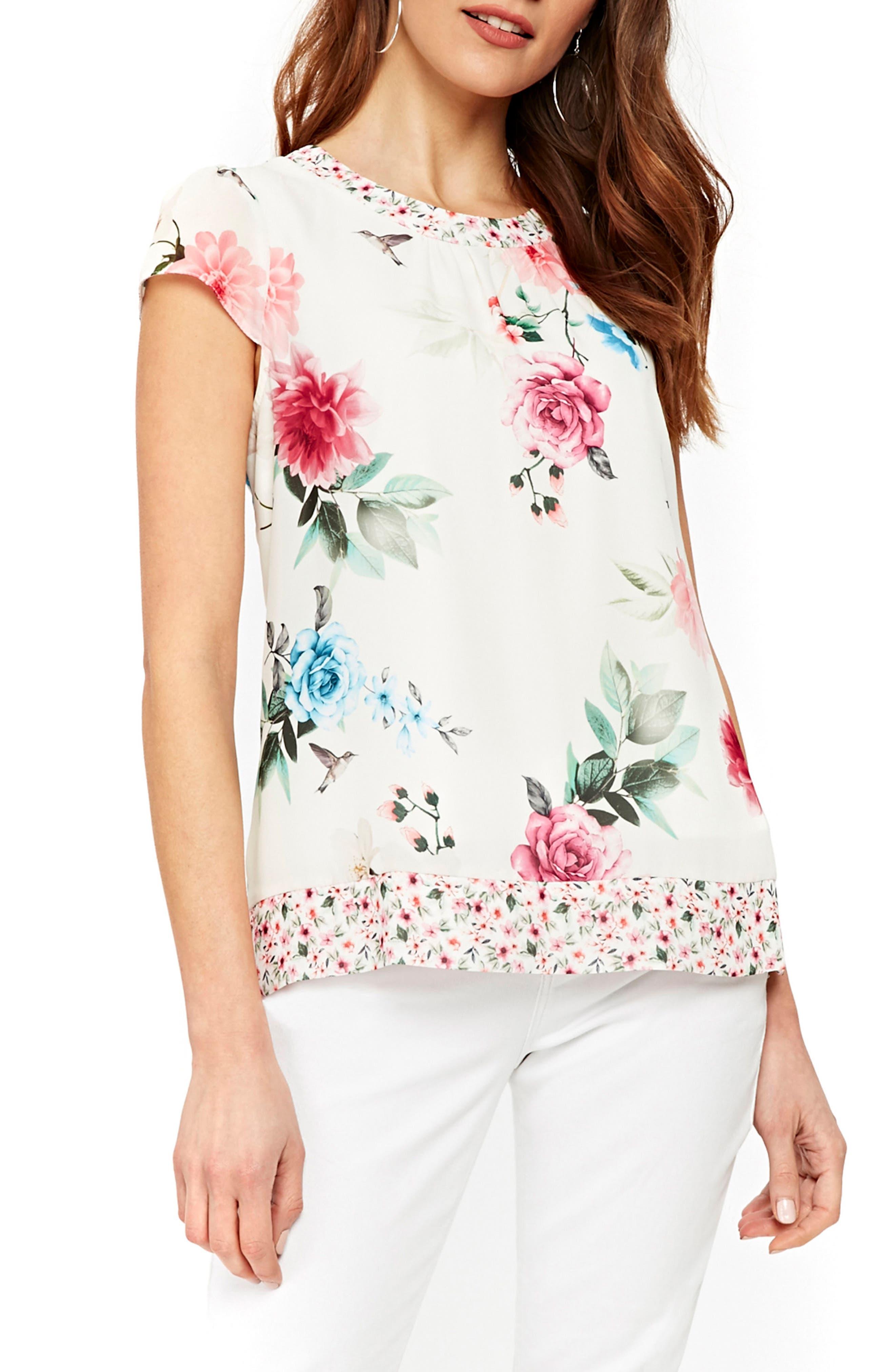 Floral Pretty Bird Cap Sleeve Blouse,                         Main,                         color, Cream