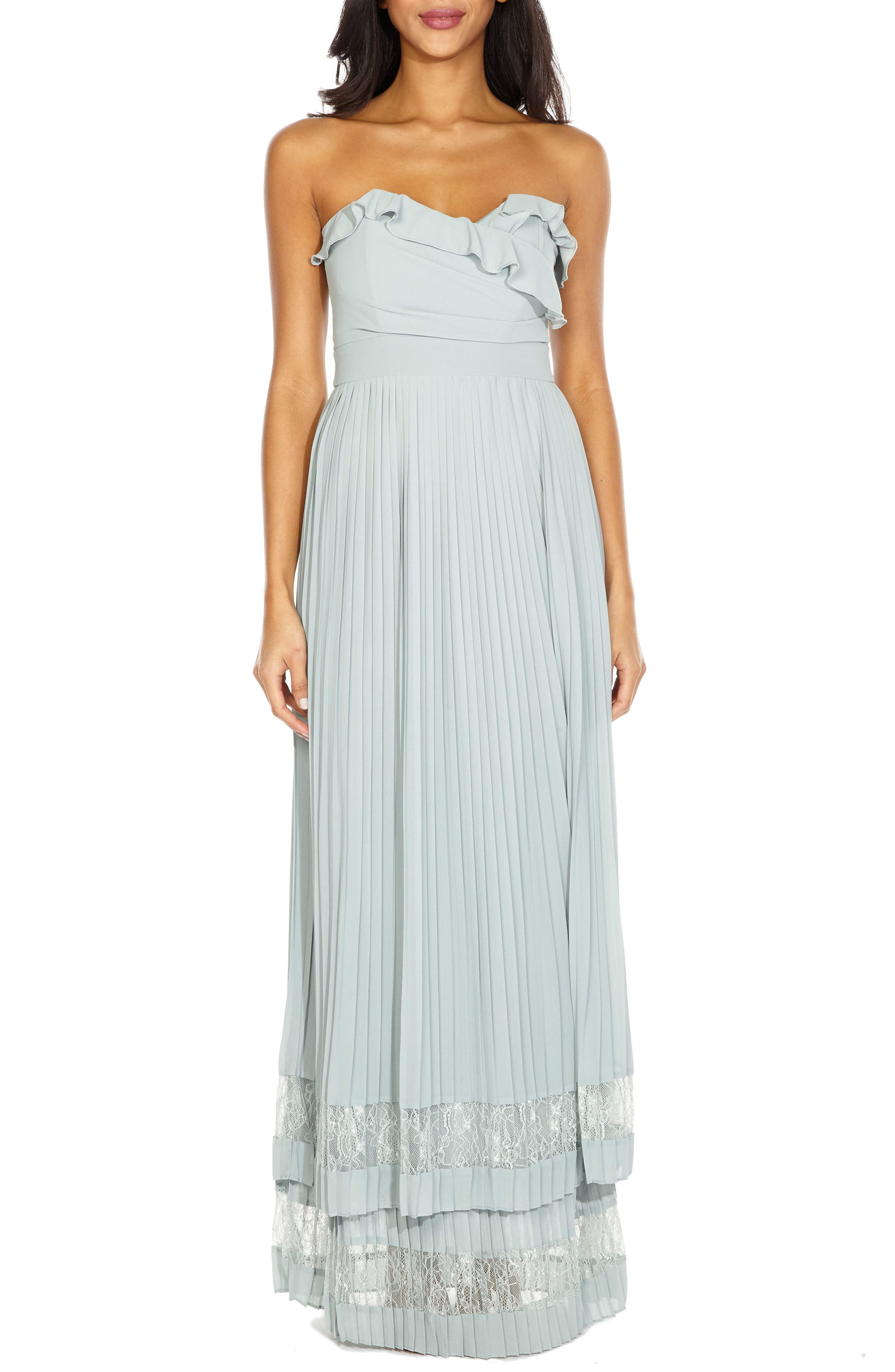 Akira Strapless Gown,                         Main,                         color, Pastel Green