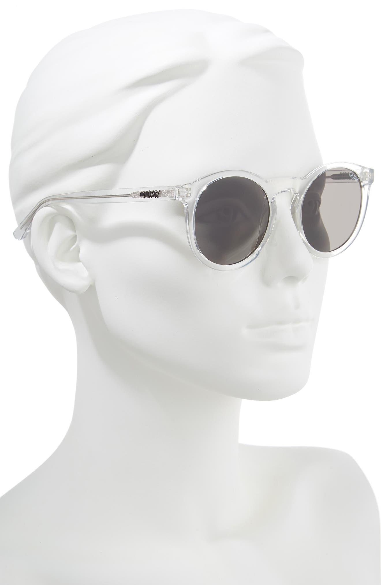 Kosha 49mm Round Sunglasses,                             Alternate thumbnail 3, color,                             Clear/ Smoke