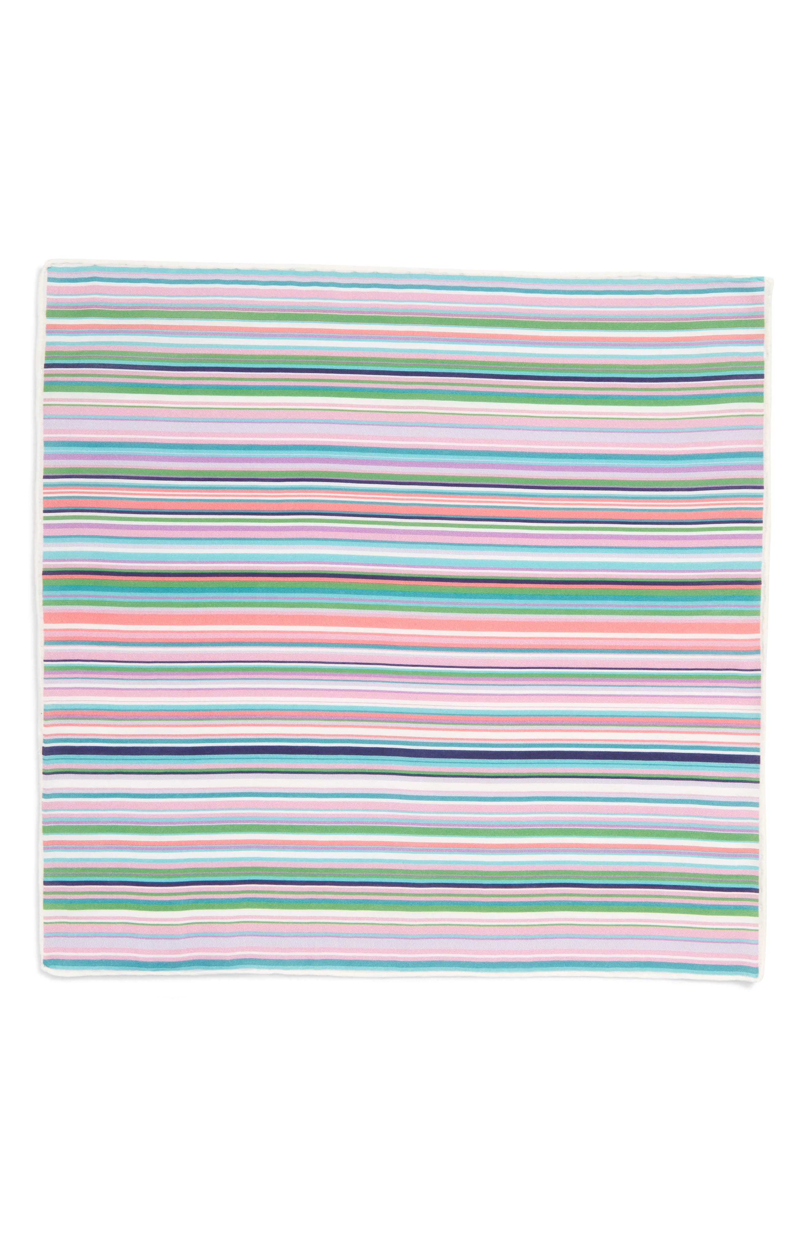 Savannah Stripe Cotton & Silk Pocket Square,                             Alternate thumbnail 3, color,                             Green