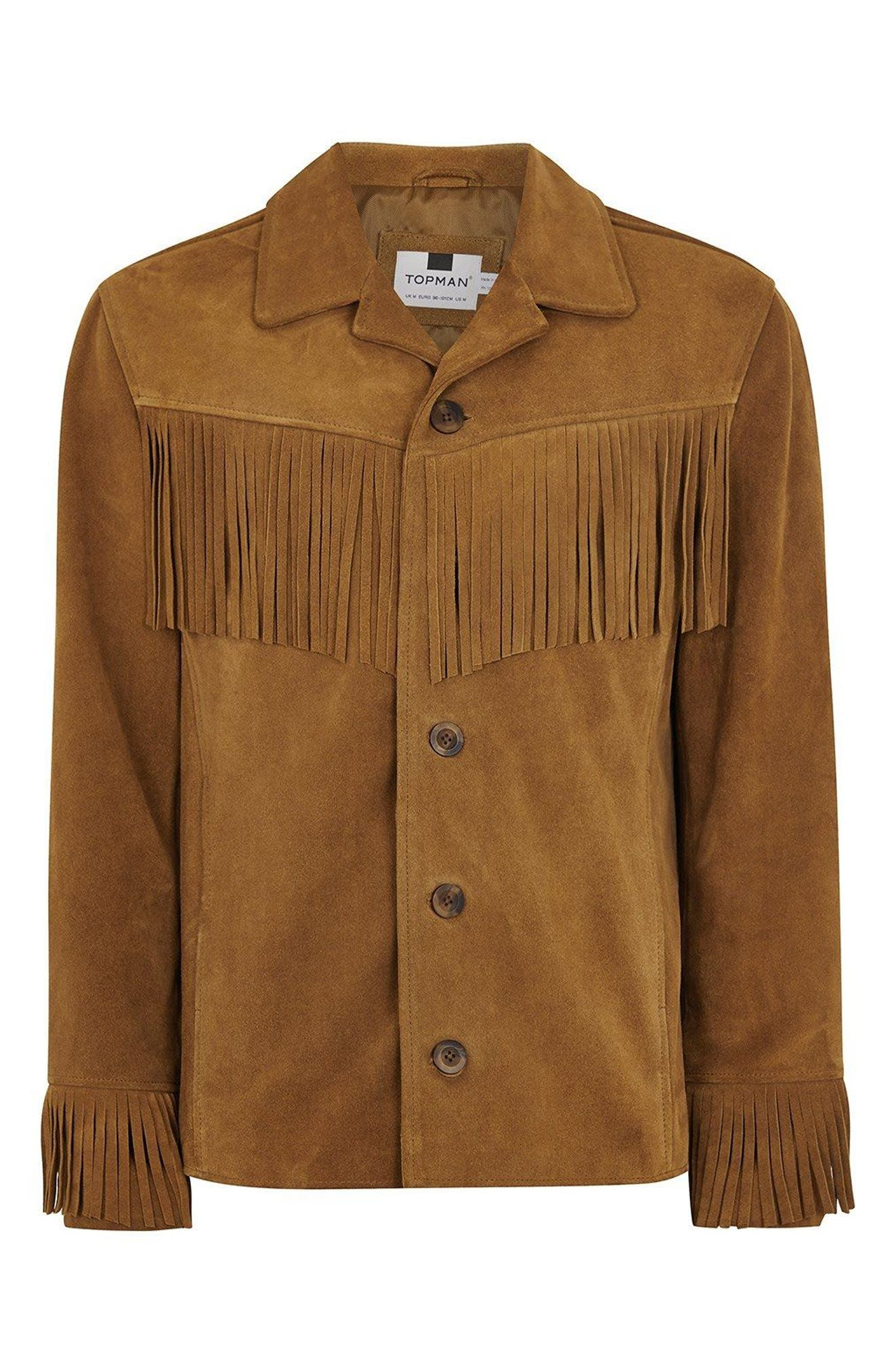 Fringed Suede Western Jacket,                             Alternate thumbnail 3, color,                             Brown