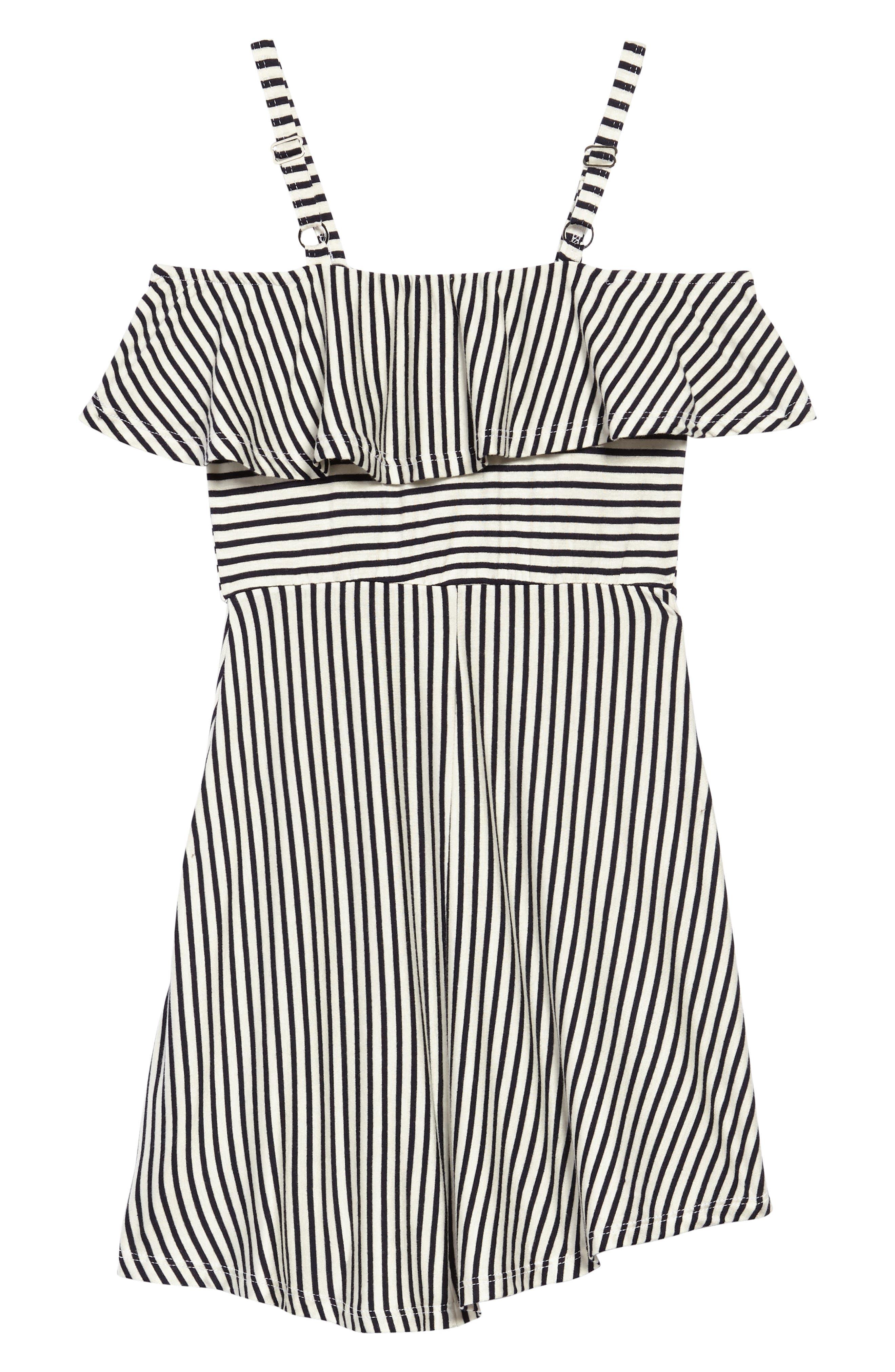 Stripe Cold Shoulder Dress,                             Alternate thumbnail 2, color,                             Black/ White