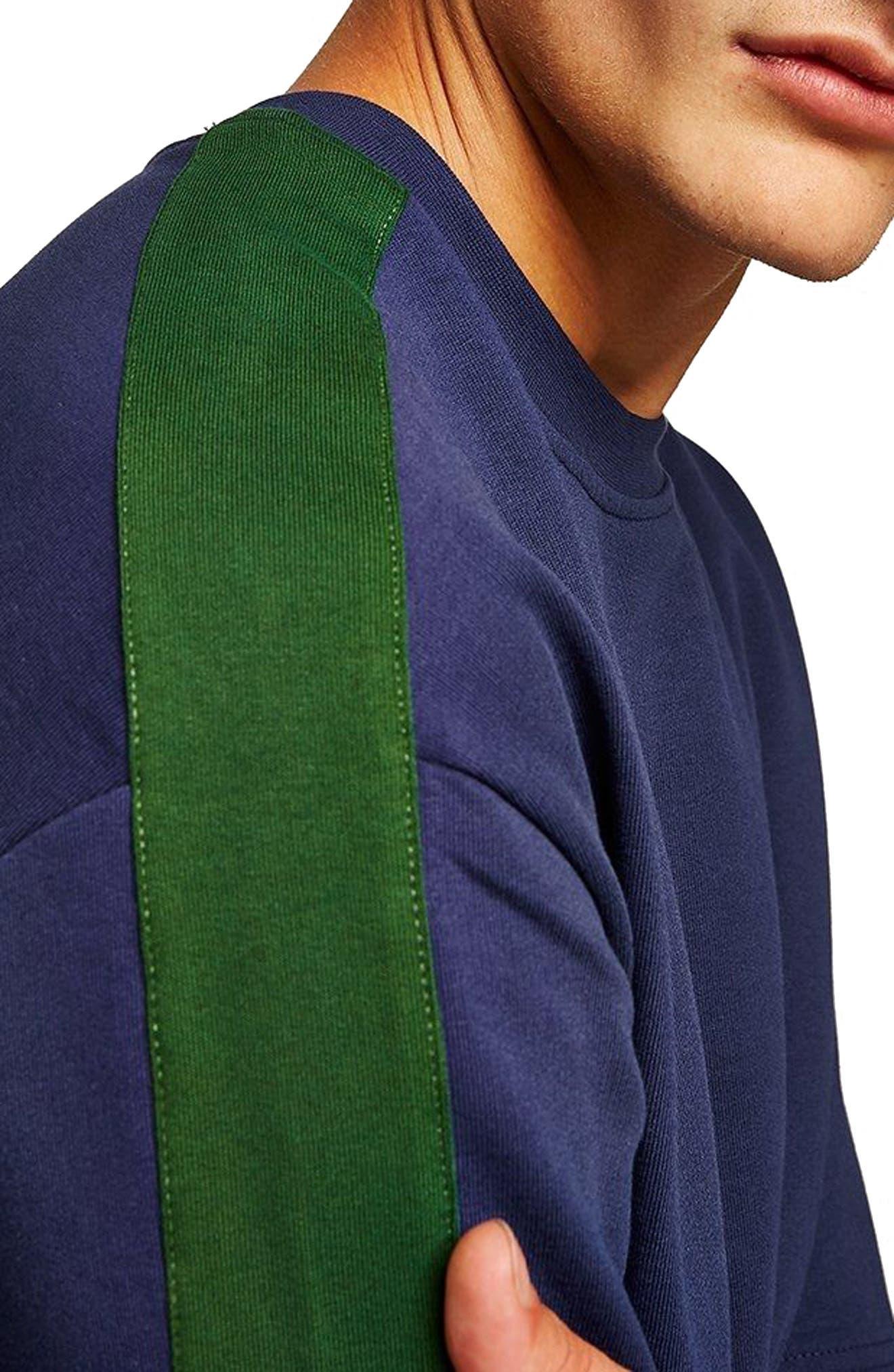 Colorblock Short Sleeve Sweatshirt,                             Alternate thumbnail 3, color,                             Navy Blue Multi