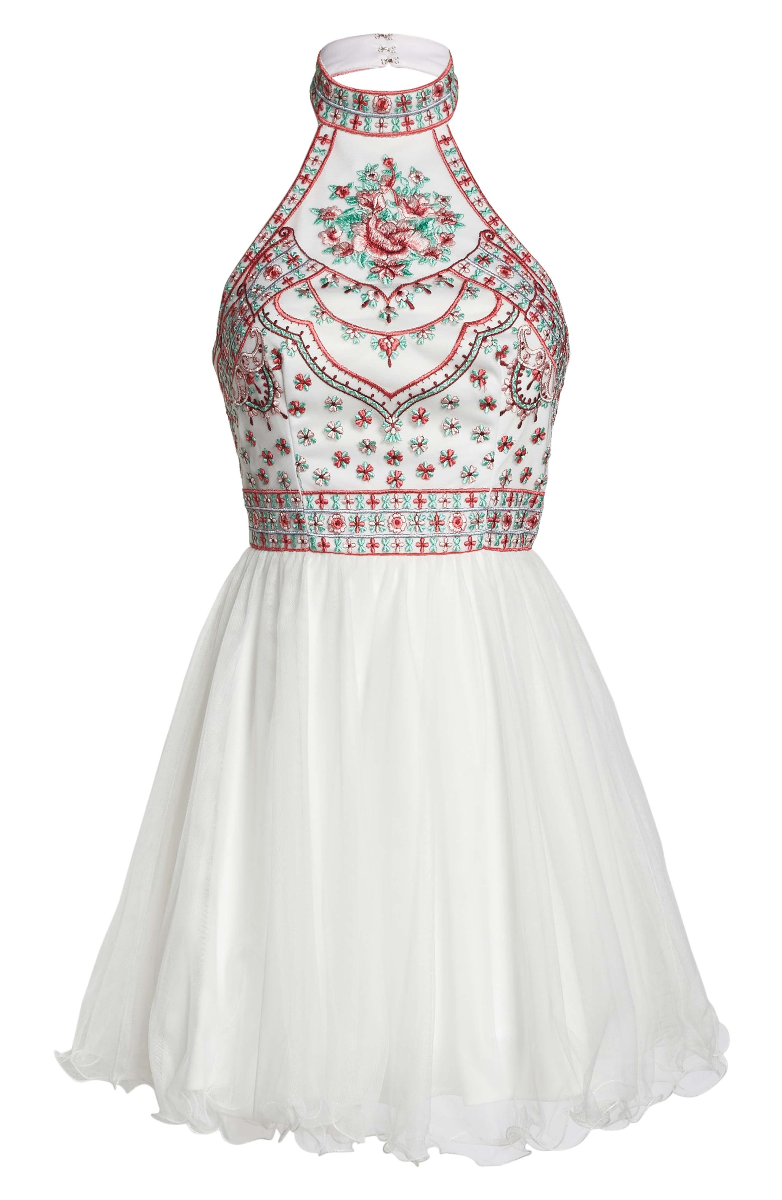 Embroidered Fit & Flare Halter Dress,                             Alternate thumbnail 6, color,                             Ivory/ Multi