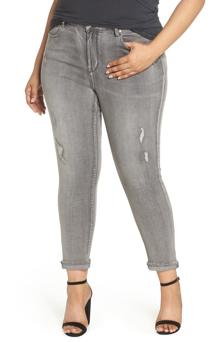 Rolled Easy Skinny Fringe Jeans