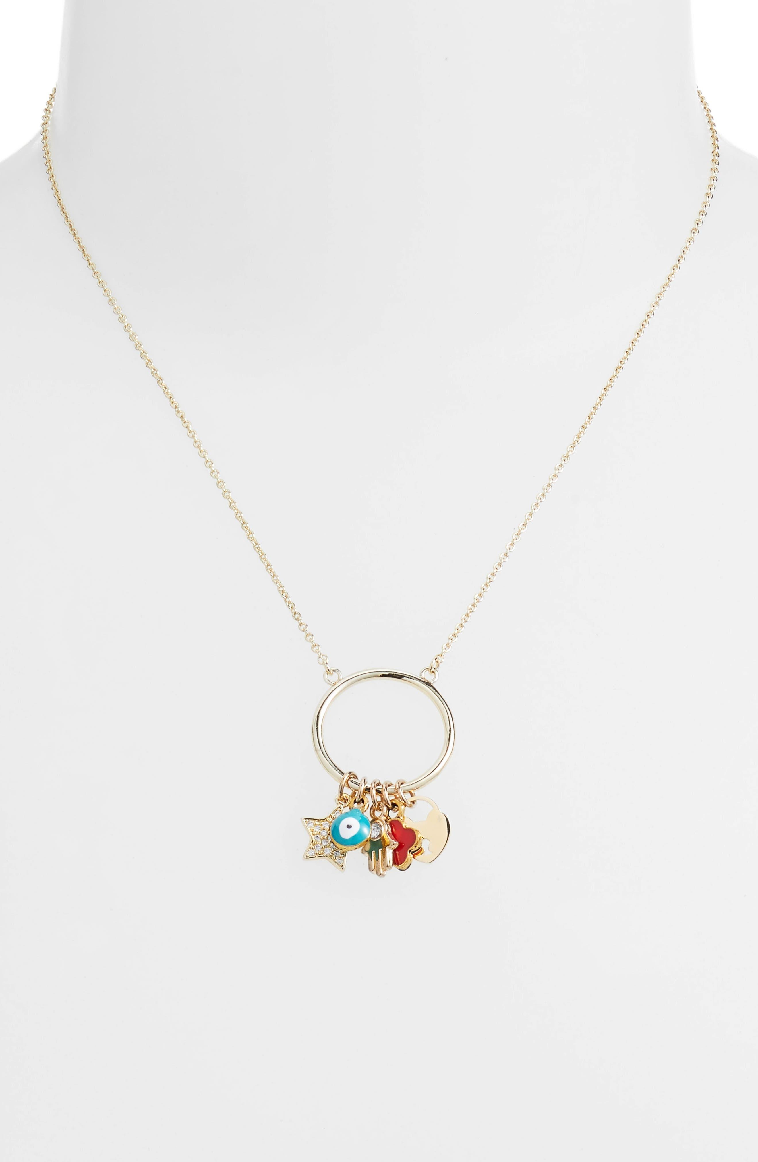 Cara Charm Pendant Necklace,                             Alternate thumbnail 2, color,                             Gold