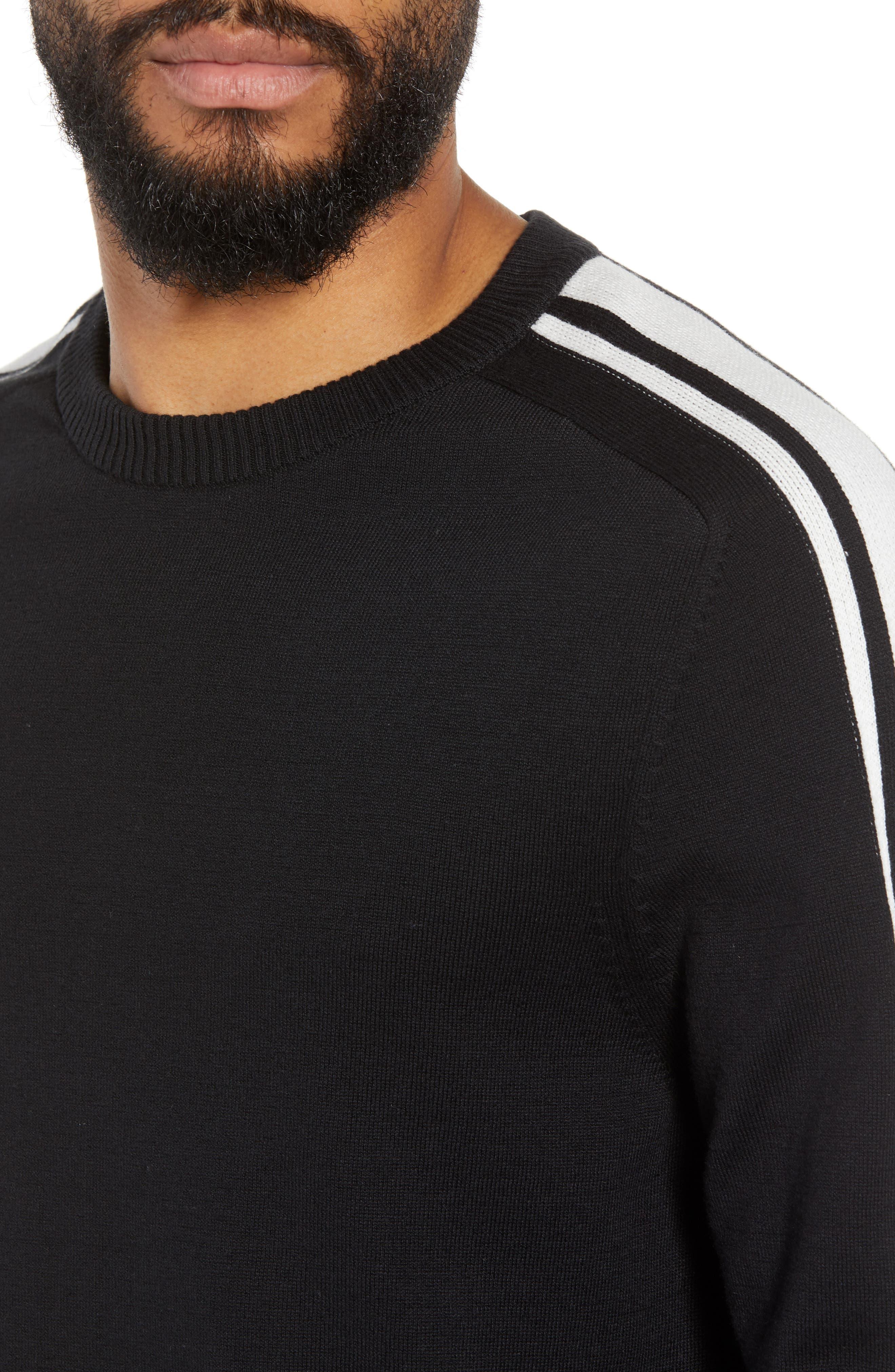 Stripe Sleeve Sweater,                             Alternate thumbnail 4, color,                             Black