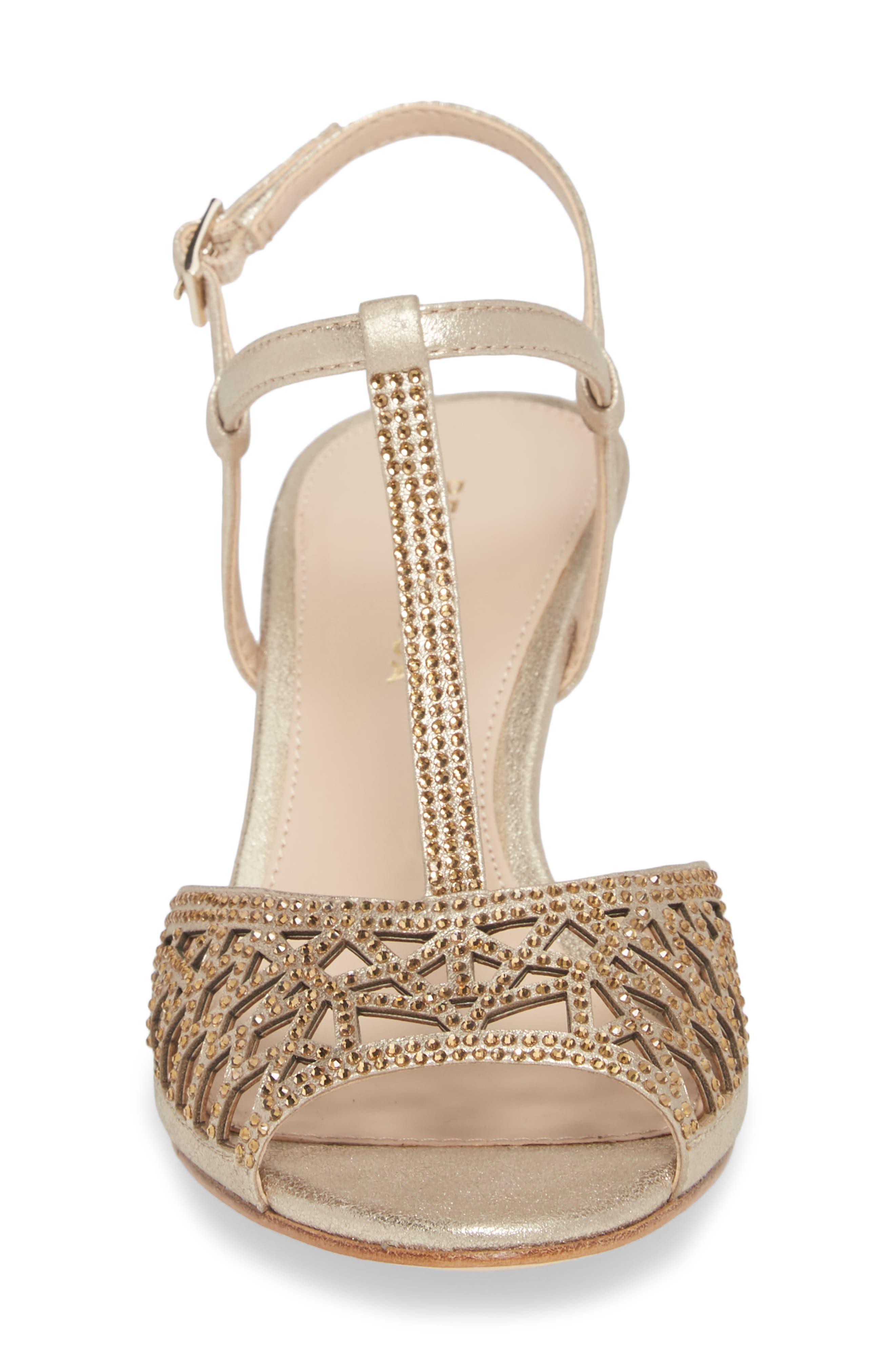 Adaline Embellished Sandal,                             Alternate thumbnail 4, color,                             Platinum Gold Metallic Suede