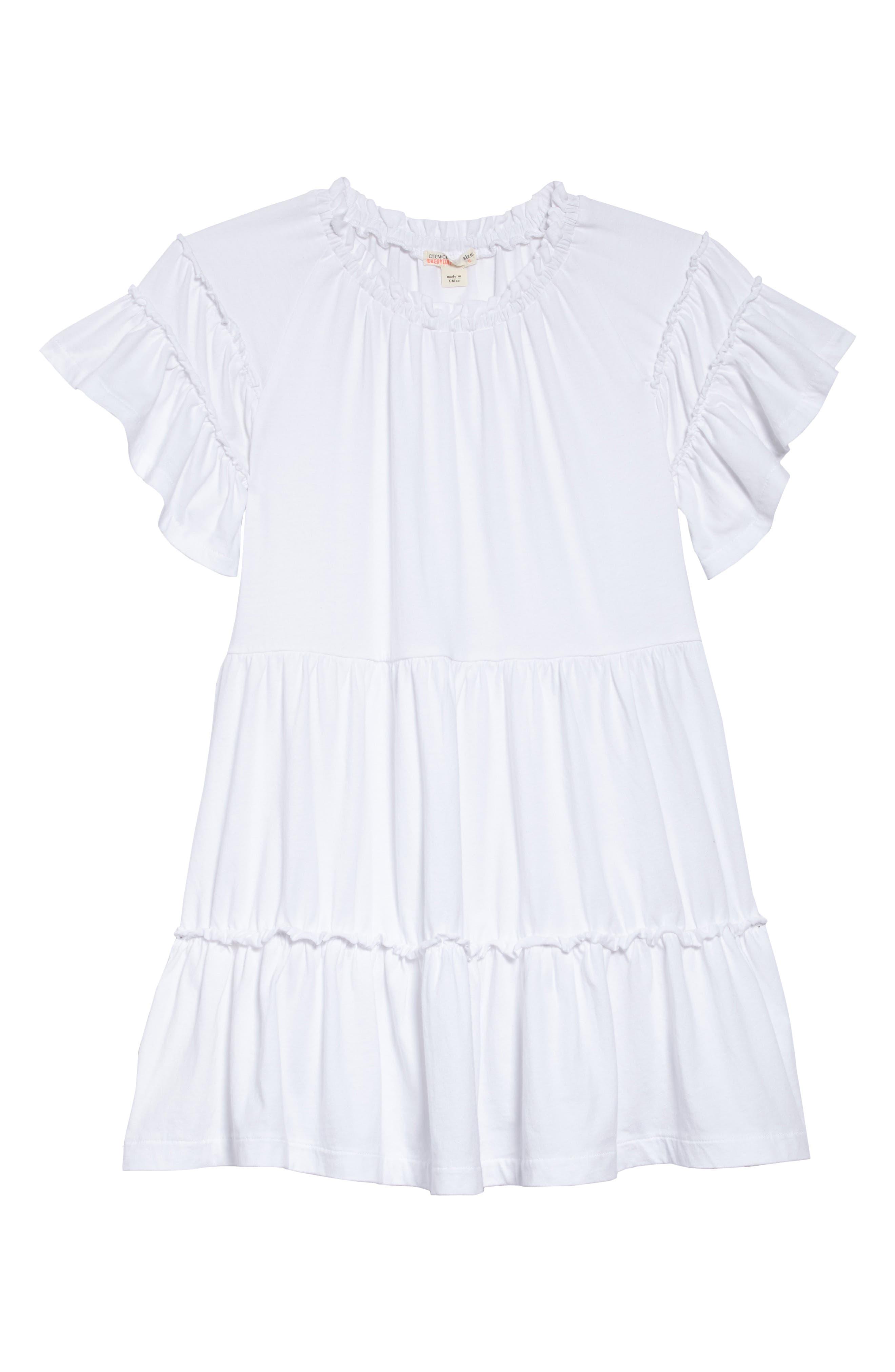 Ruffle T-Shirt Dress,                             Main thumbnail 1, color,                             White