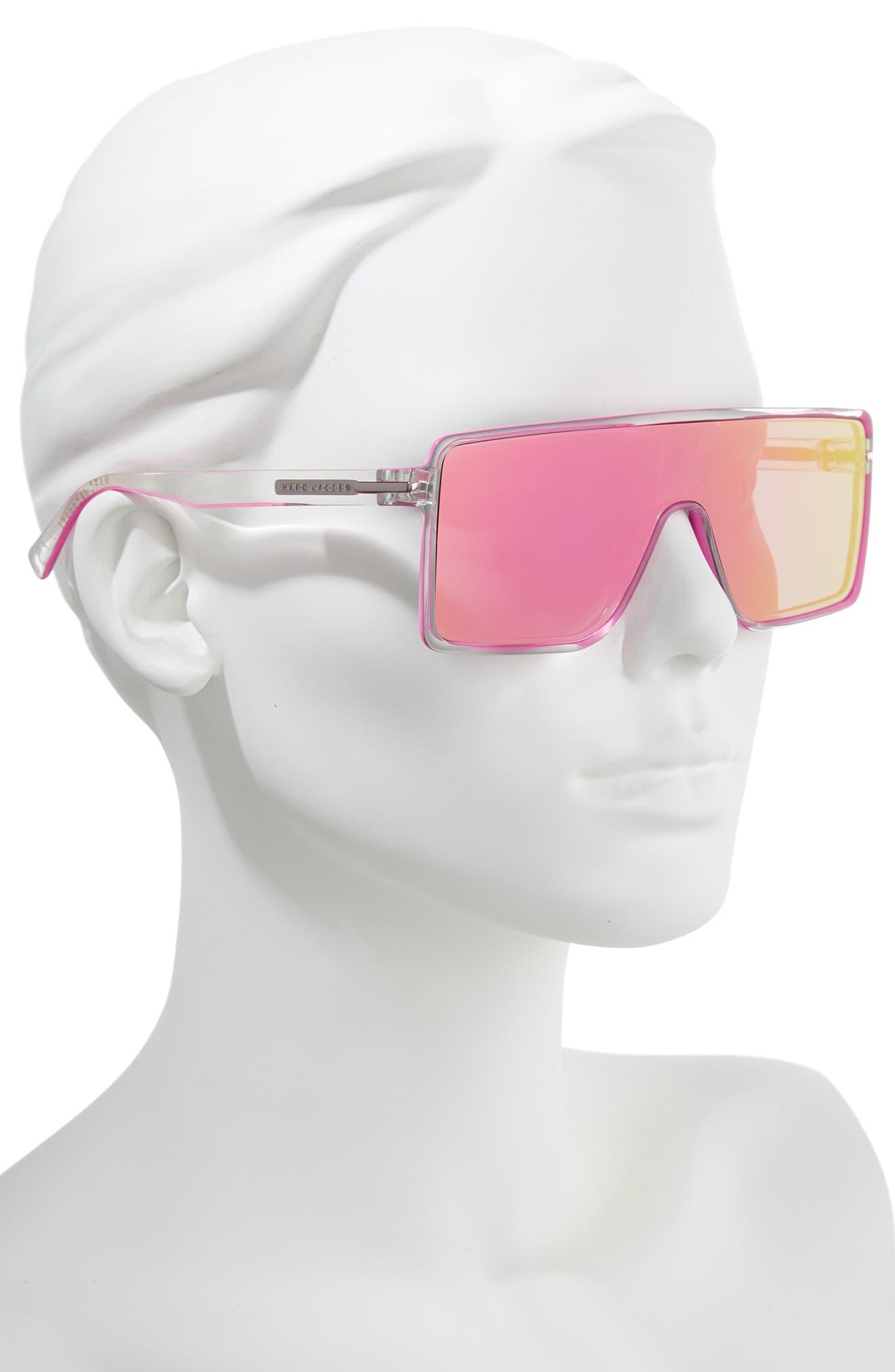 54mm Shield Sunglasses,                             Alternate thumbnail 2, color,                             Crystal Pink
