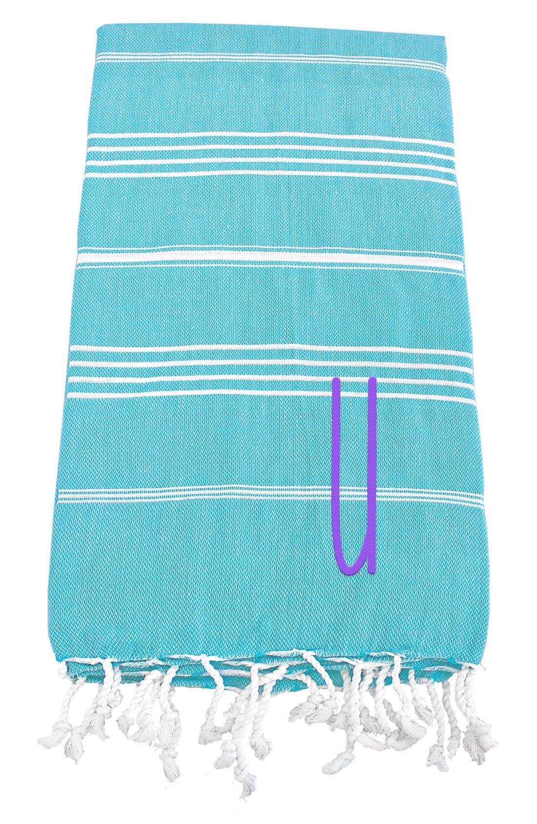 Monogram Turkish Cotton Towel,                             Main thumbnail 1, color,                             Turquoise - U