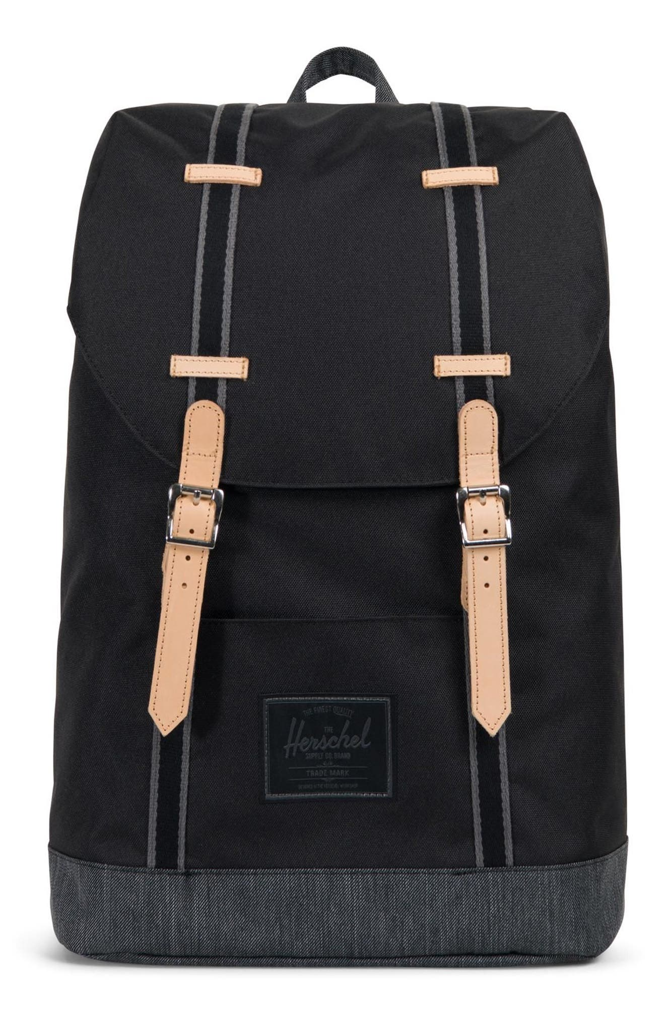 RETREAT OFFSET DENIM BACKPACK - BLACK