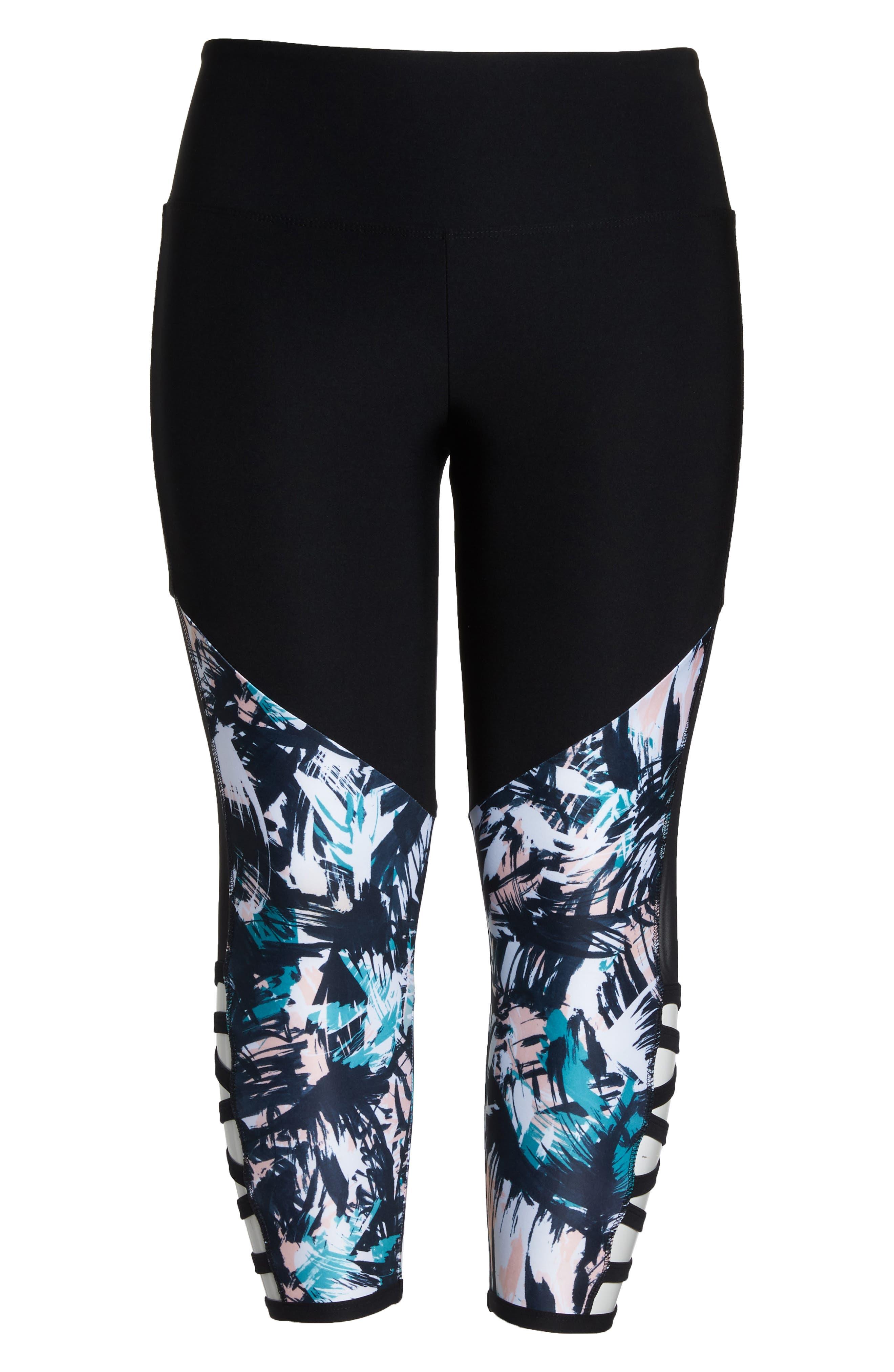 Kendall Invigorate Capri Leggings,                             Alternate thumbnail 7, color,                             Black/ Brushed Palms