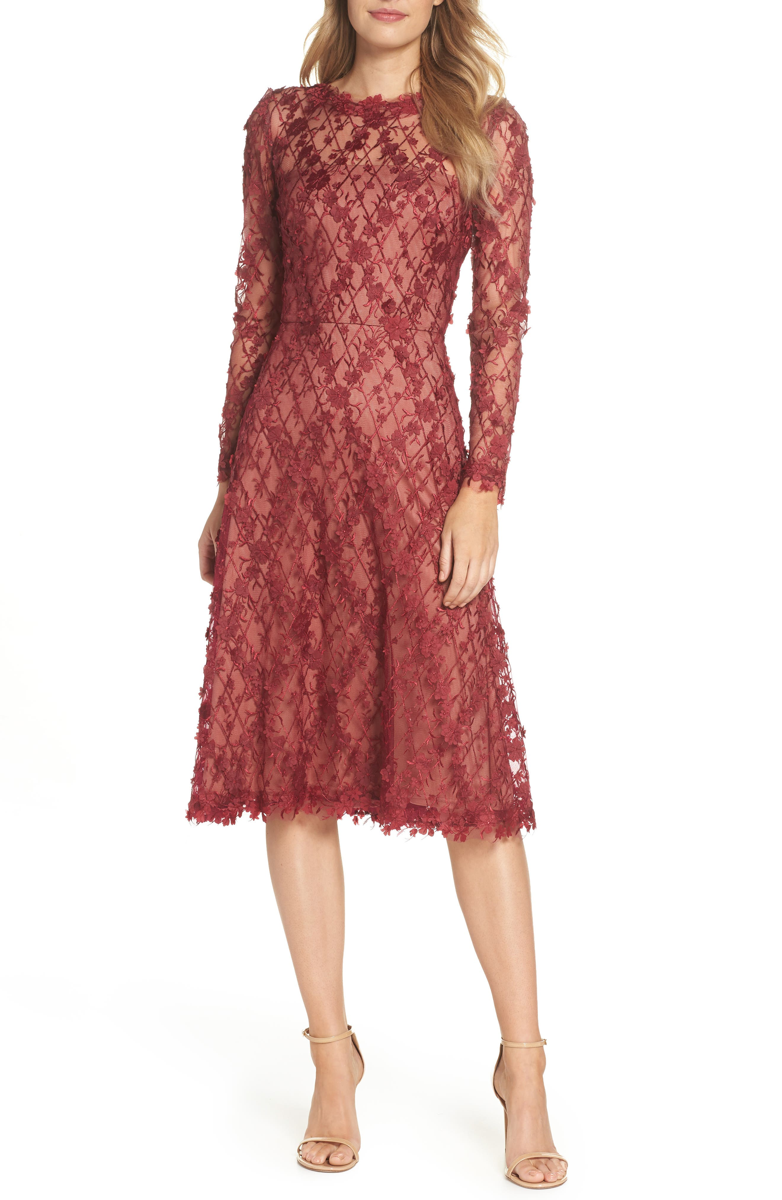3D Flowers Lace Dress,                         Main,                         color, Rosewood/ Nude