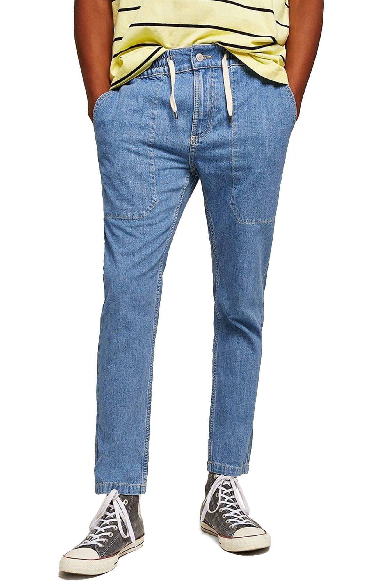 Tapered Fit Denim Jogger Pants,                             Main thumbnail 1, color,                             Blue